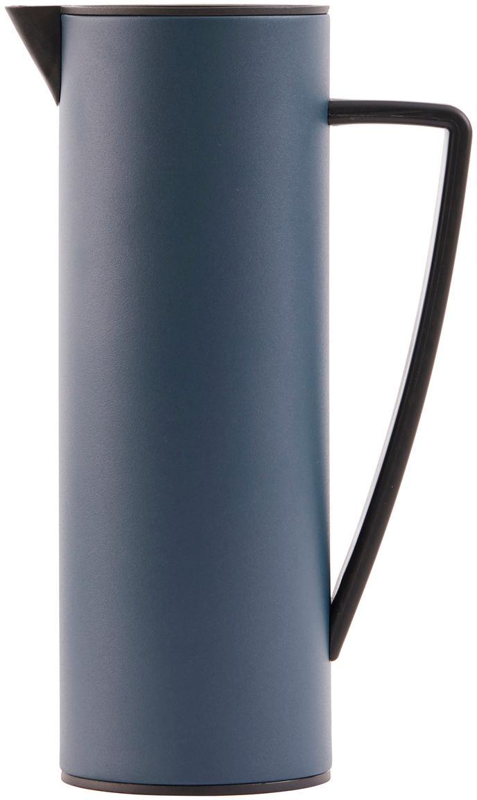 Isolierkanne Java, Kanne: Metall, beschichtet, Deckel: Holz, Metall, beschichtet, Blau, Schwarz, 1 L