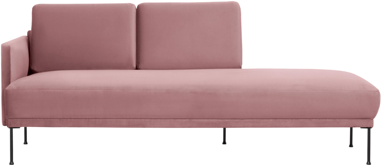 Fluwelen chaise longue Fluente, Bekleding: fluweel (hoogwaardig poly, Frame: massief grenenhout, Poten: gepoedercoat metaal, Roze, B 202 x D 85 cm