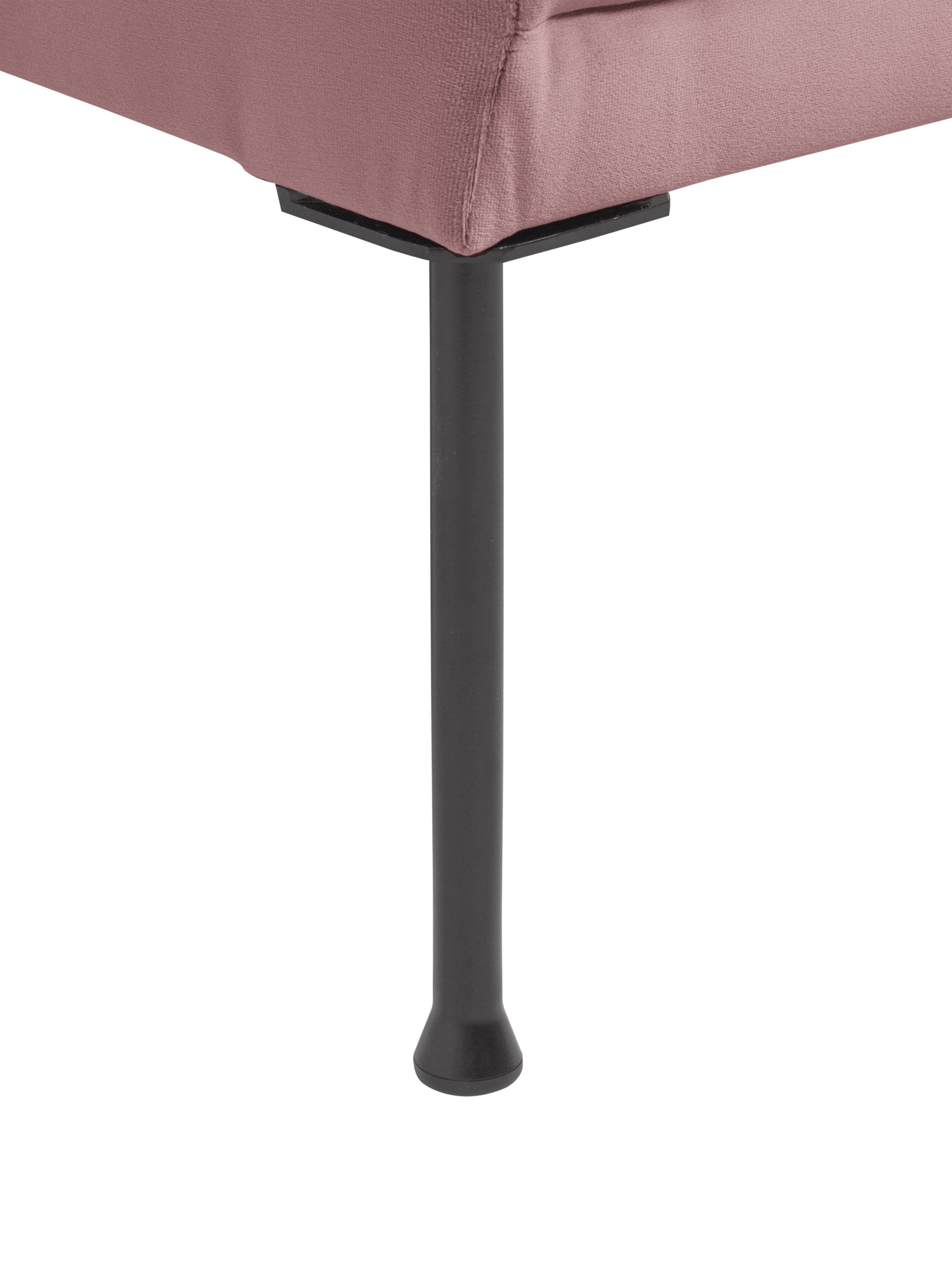 Samt-Ottomane Fluente, Bezug: Samt (Hochwertiger Polyes, Gestell: Massives Kiefernholz, Füße: Metall, pulverbeschichtet, Samt Rosa, B 202 x T 85 cm