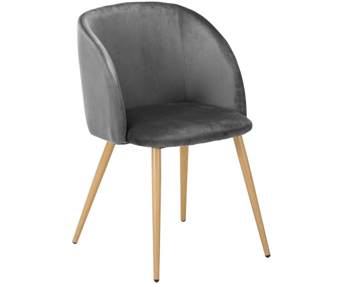 Sedia imbottita in velluto Yoki 2 pz, Rivestimento: velluto (poliestere) 20.0, Gambe: metallo effetto rovere, Velluto grigio scuro, gambe legno di quercia, Larg. 53 x Prof. 57 cm