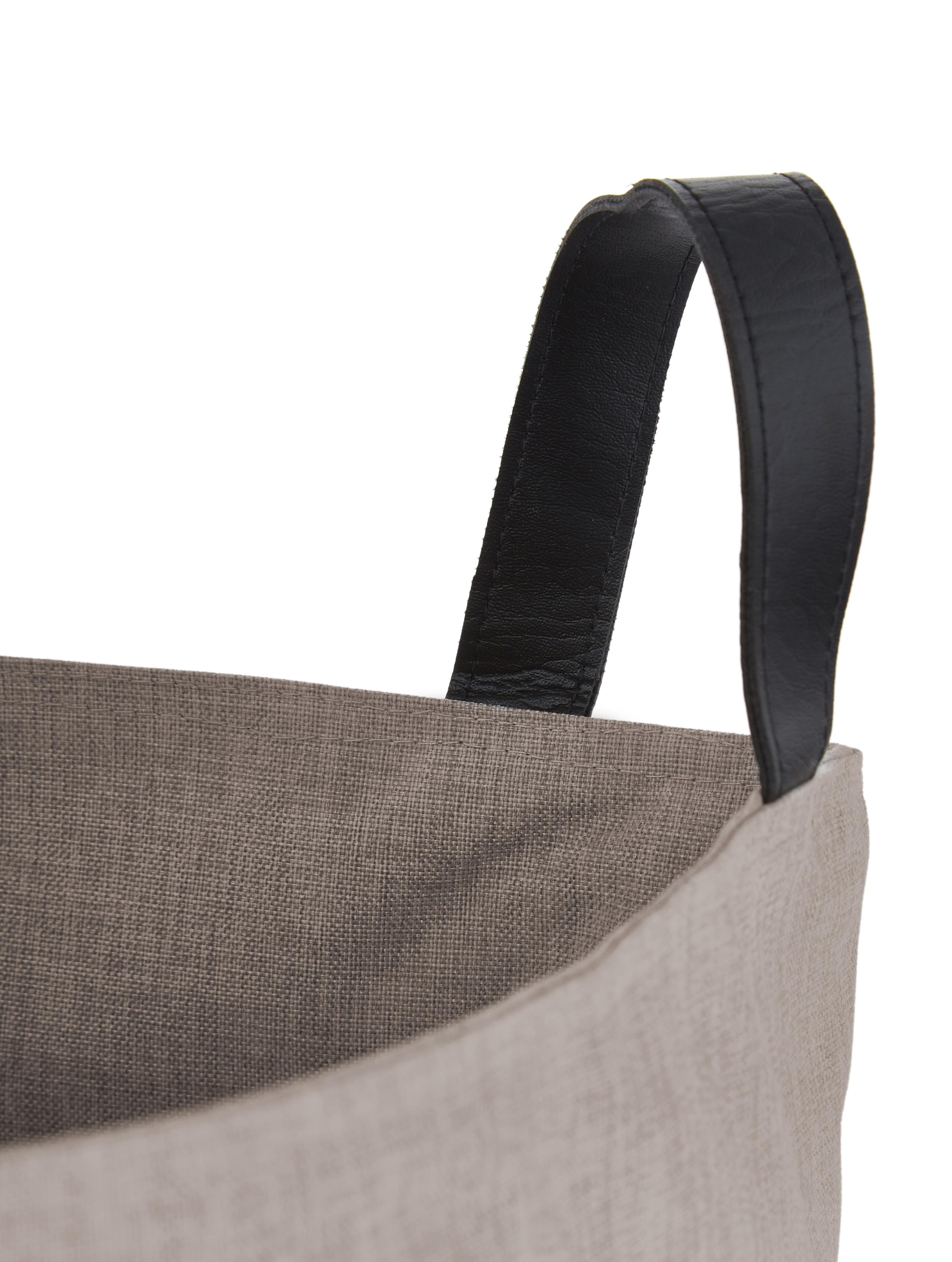 Wasmand Floor, Wasmand: beige. Handvatten: zwart, Ø 40 x H 55 cm