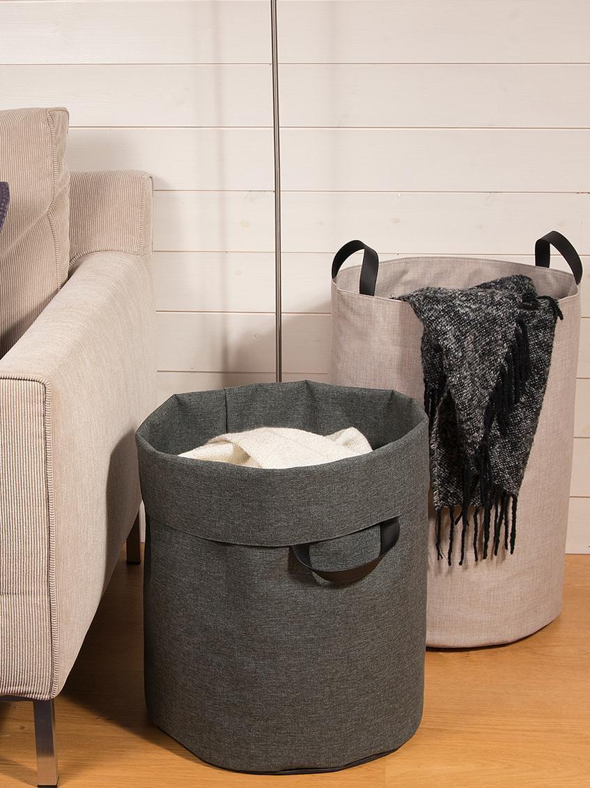 Cesta de lavandería Floor, Cesta: poliéster, Asa: cuero, Cesta: beige Asa: negro, Ø 40 x Al 55 cm