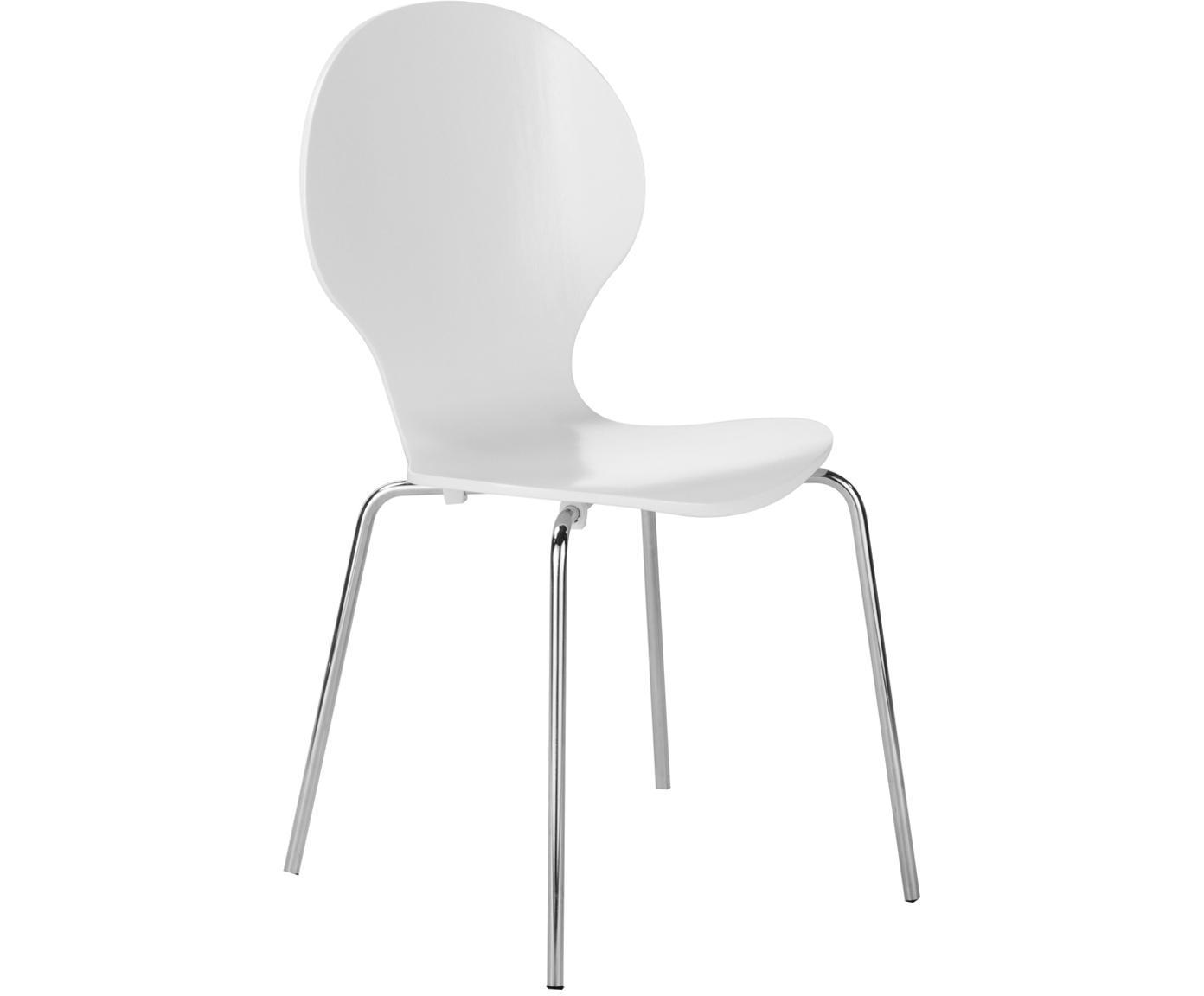 Sillas Marcus, 4 uds., Asiento: tablero de fibras de dens, Estructura: acero, cromado, Blanco, An 49 x Al 87 cm