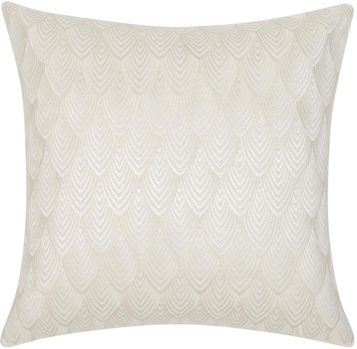 Federa arredo  ricamata Giselle, Cotone, Bianco crema, Larg. 45 x Lung. 45 cm