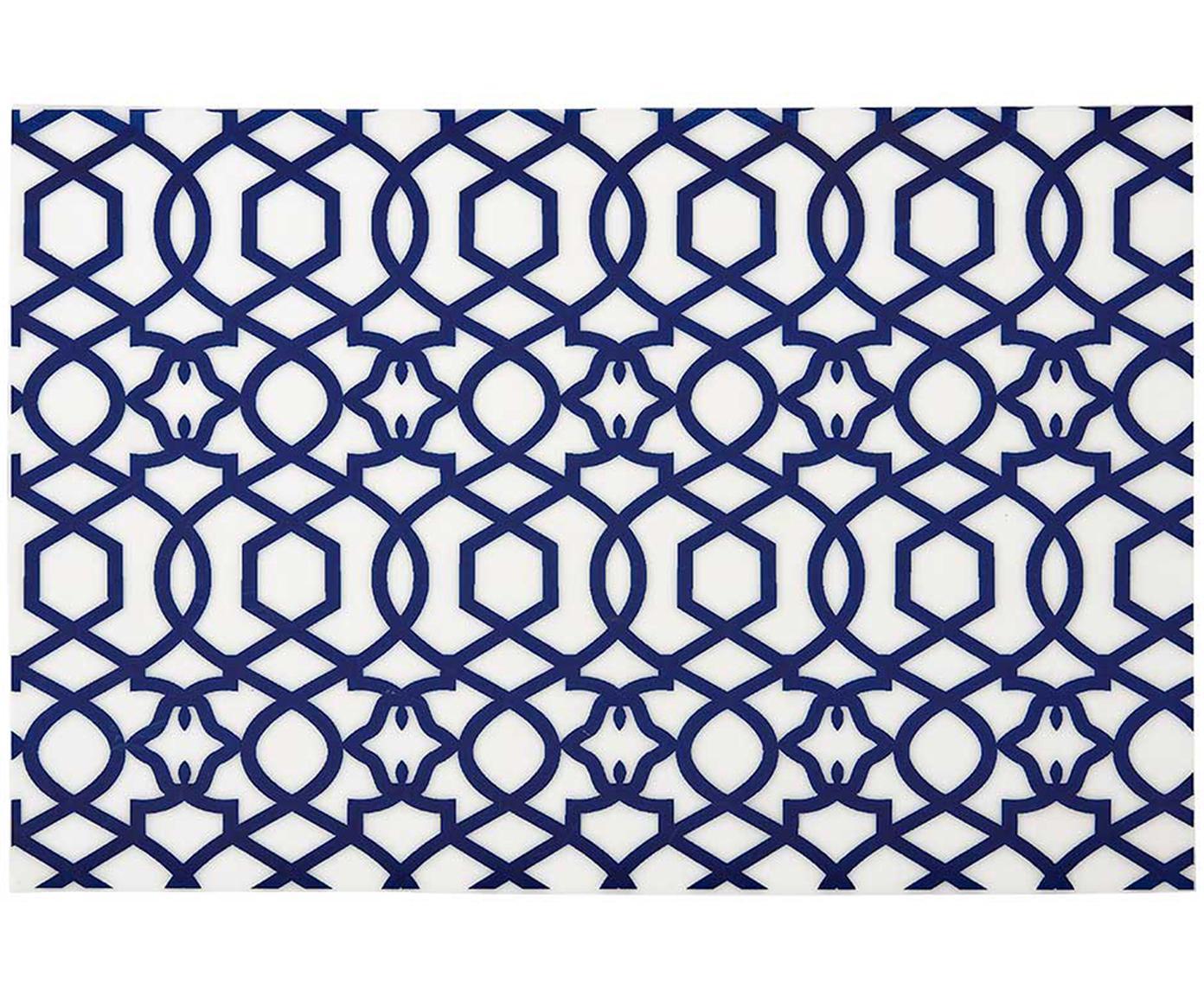 Manteles individuales de plástico Tropic, 4uds., Plástico (PVC), Azul oscuro, An 30 x L 45 cm
