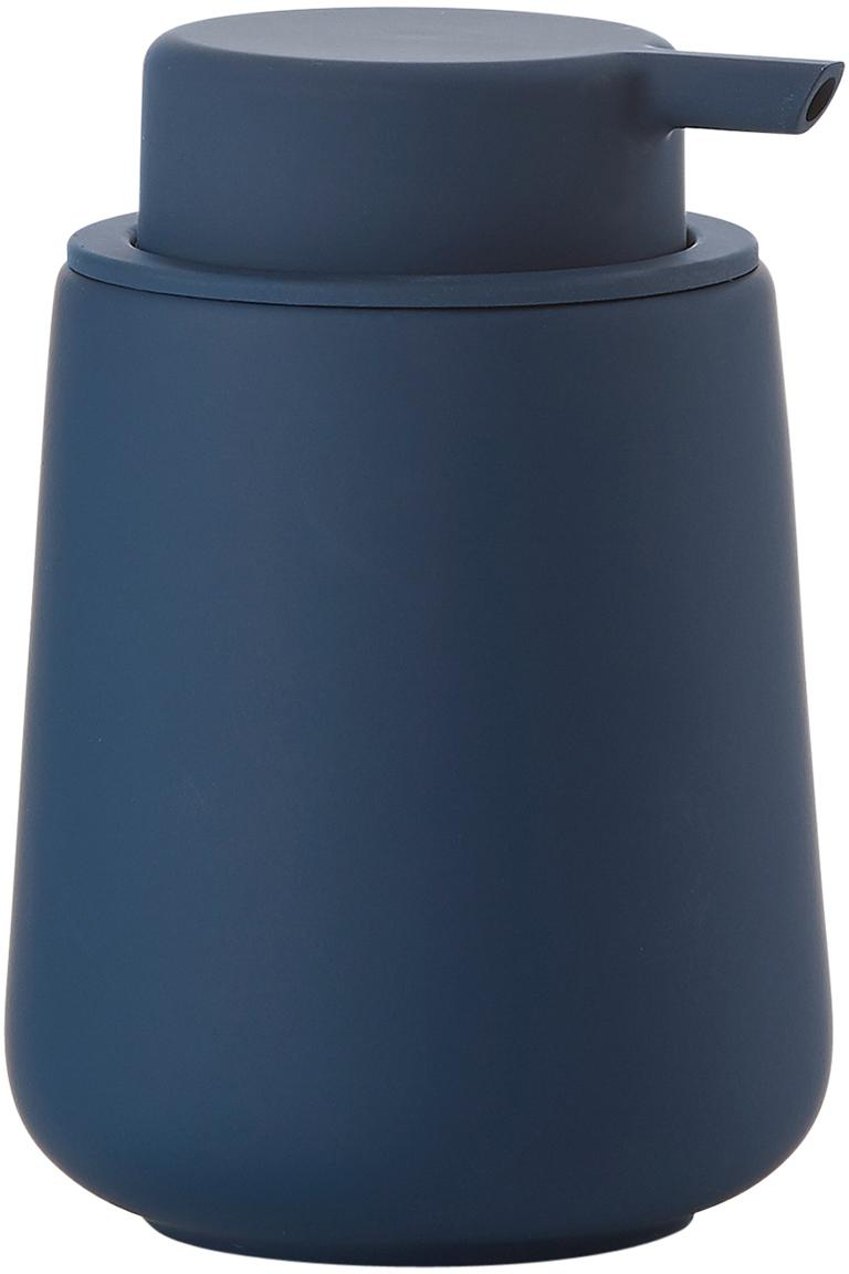 Dosificador de jabón Nova One, Recipiente: porcelana, Dosificador: plástico, Azul, Ø 8 x Al 12 cm