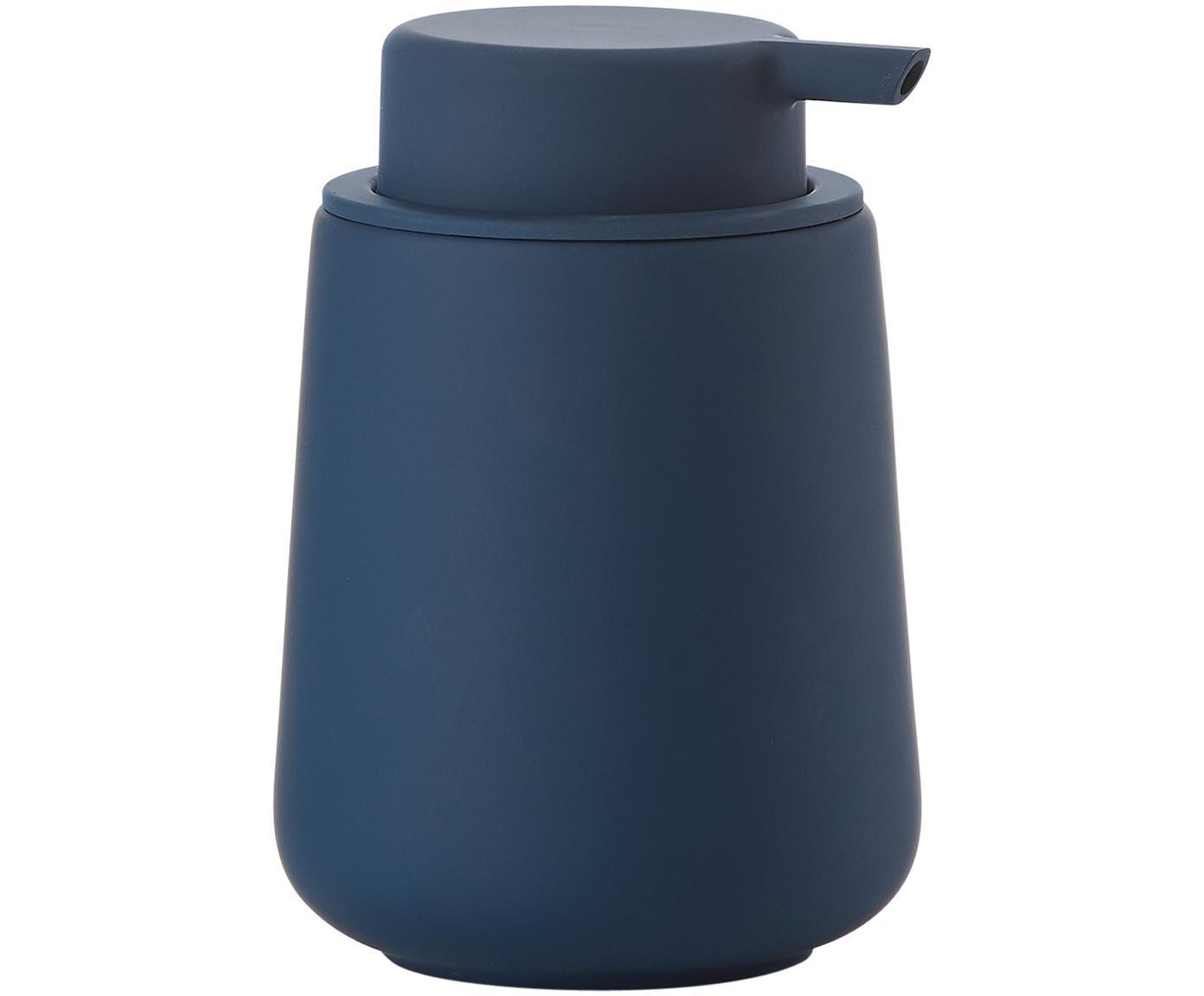Dosificador de jabón Push, Recipiente: porcelana, Dosificador: plástico, Azul, Ø 8 x Al 12 cm