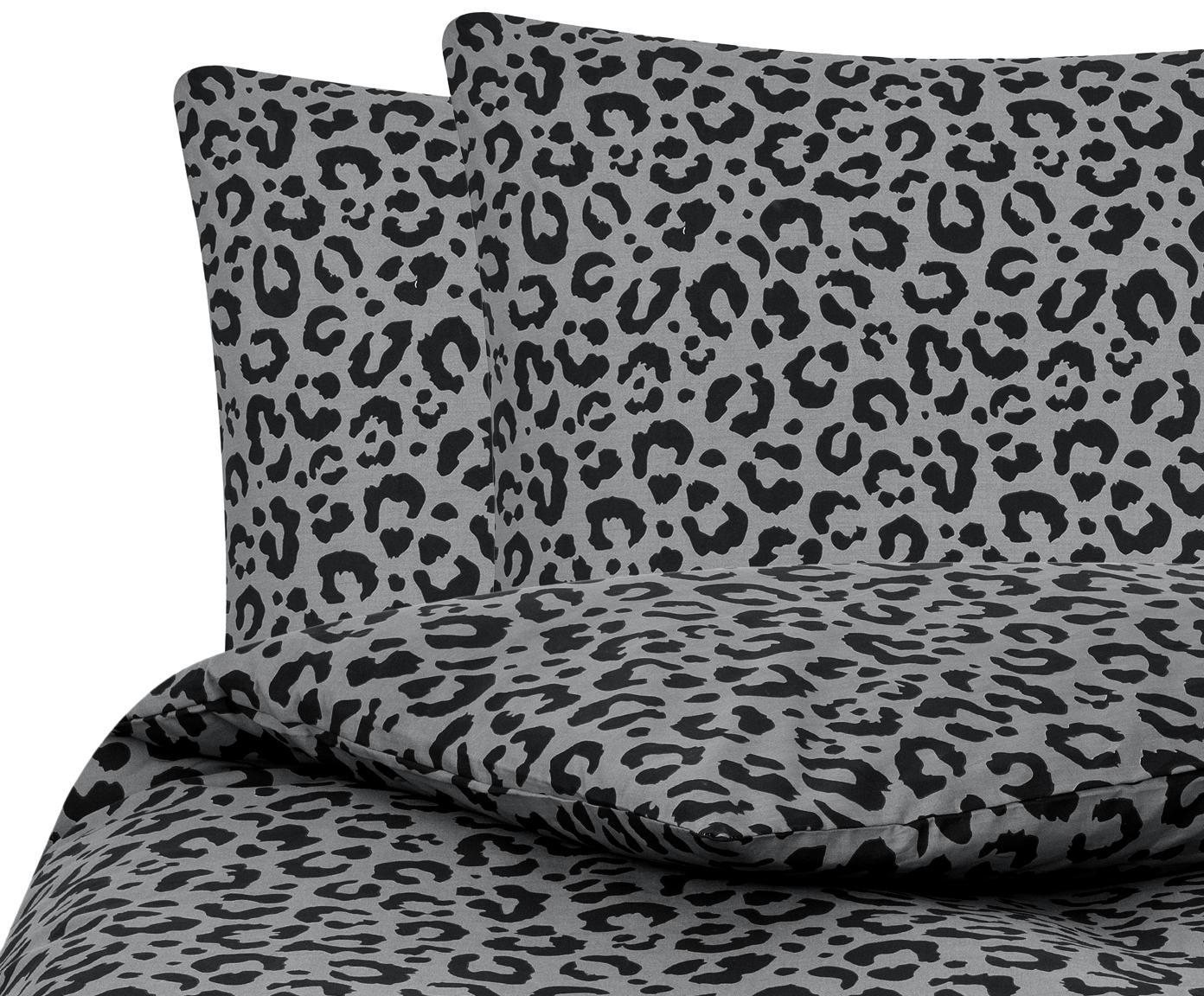 Pościel z perkalu Leopard, Szary, czarny, 240 x 220 cm