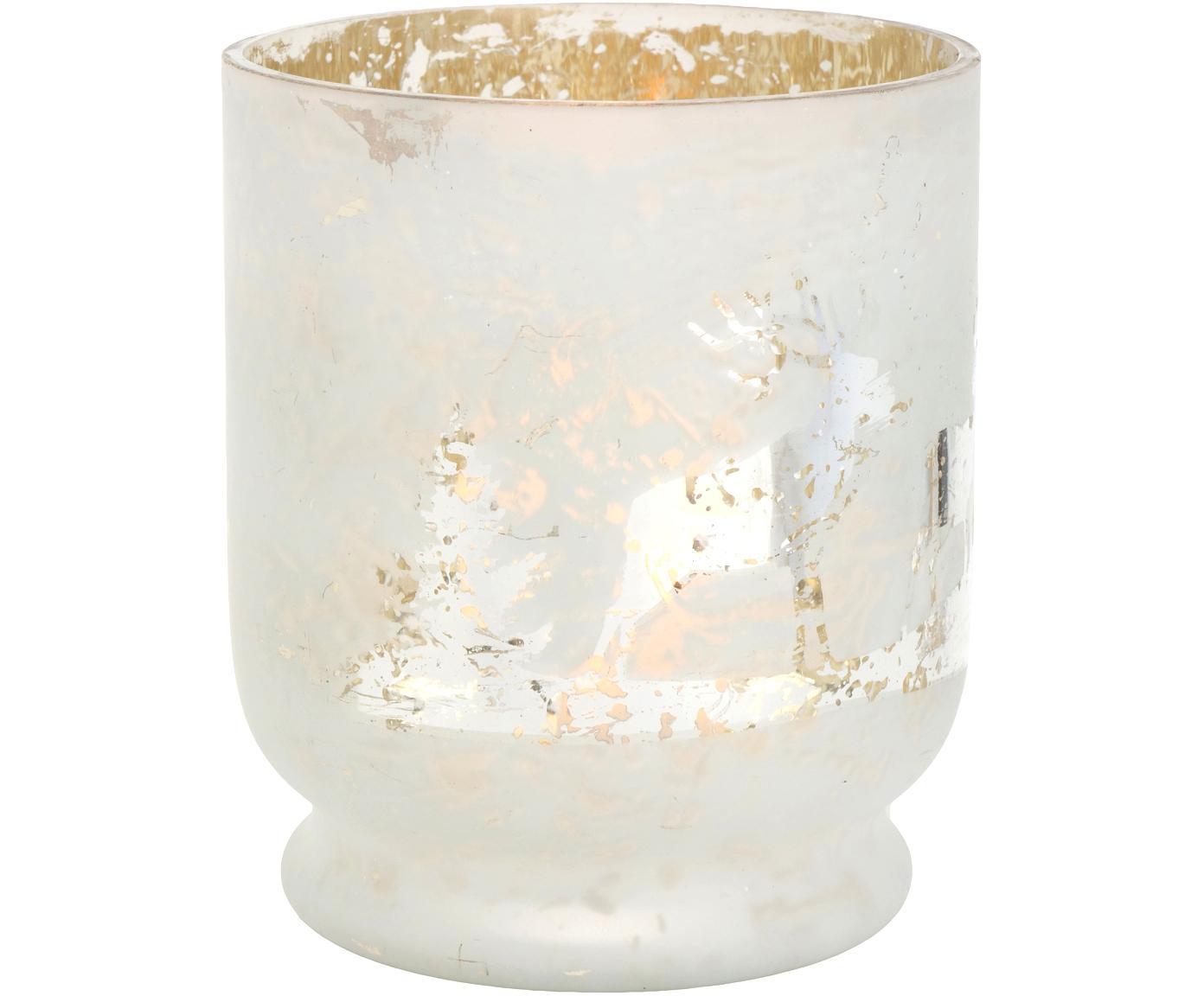 Windlicht Bonaparte, Glas, lackiert, Weiss, Silberfarben, Ø 13 x H 15 cm