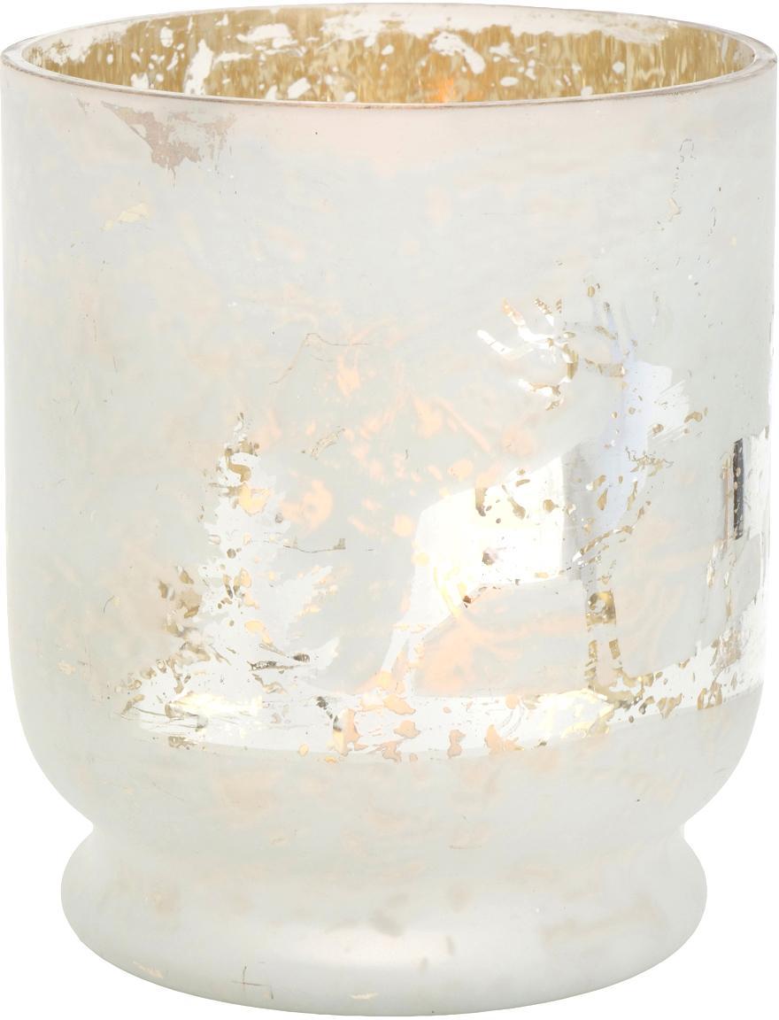 Portavelas Bonaparte, Vidrio, pintado, Blanco, plateado, Ø 13 x Al 15 cm