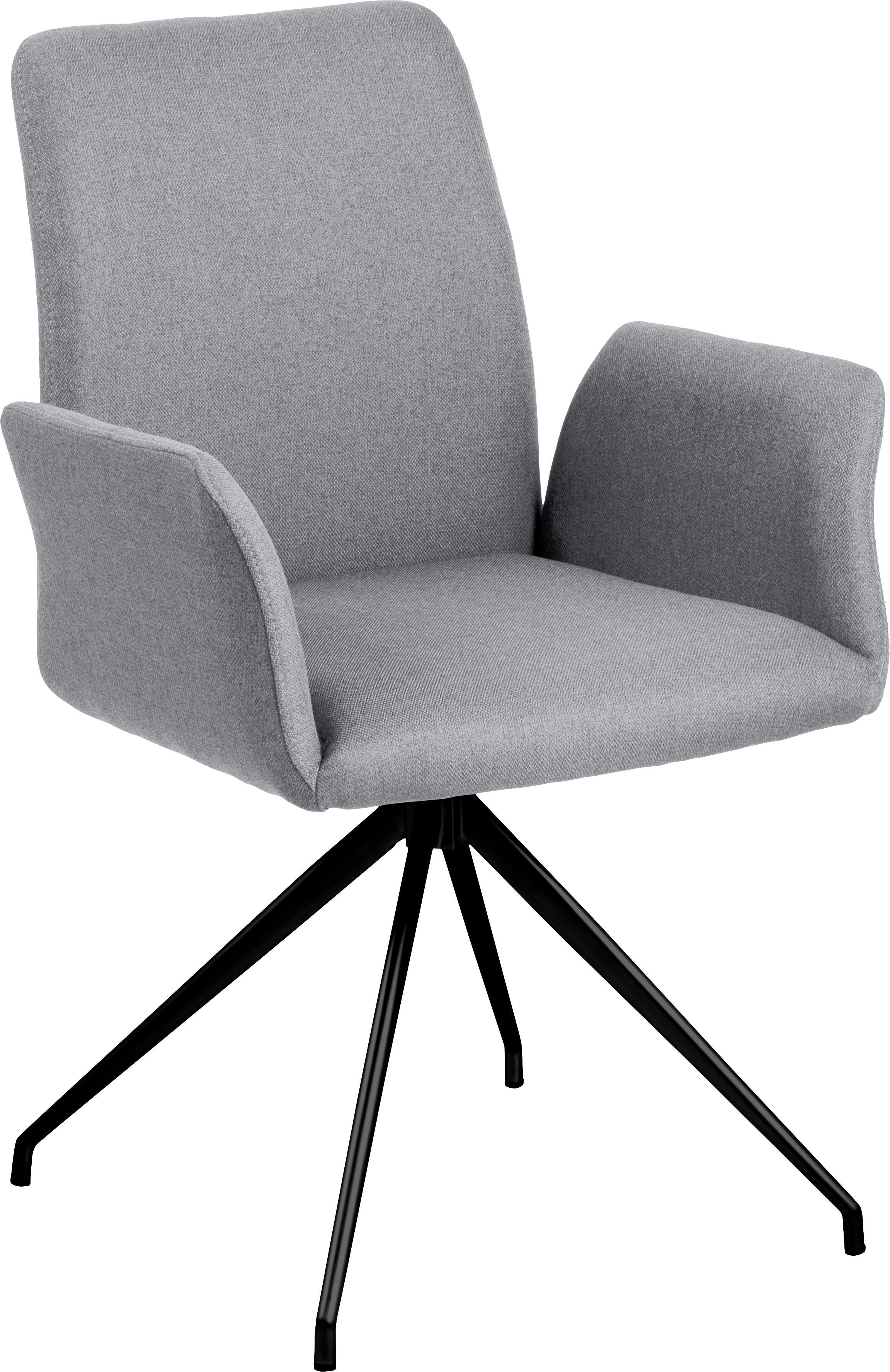 Draaistoel Naya in grijs, Bekleding: polyester, Frame: gepoedercoat metaal, Geweven stof lichtgrijs, B 59  x D 59 cm
