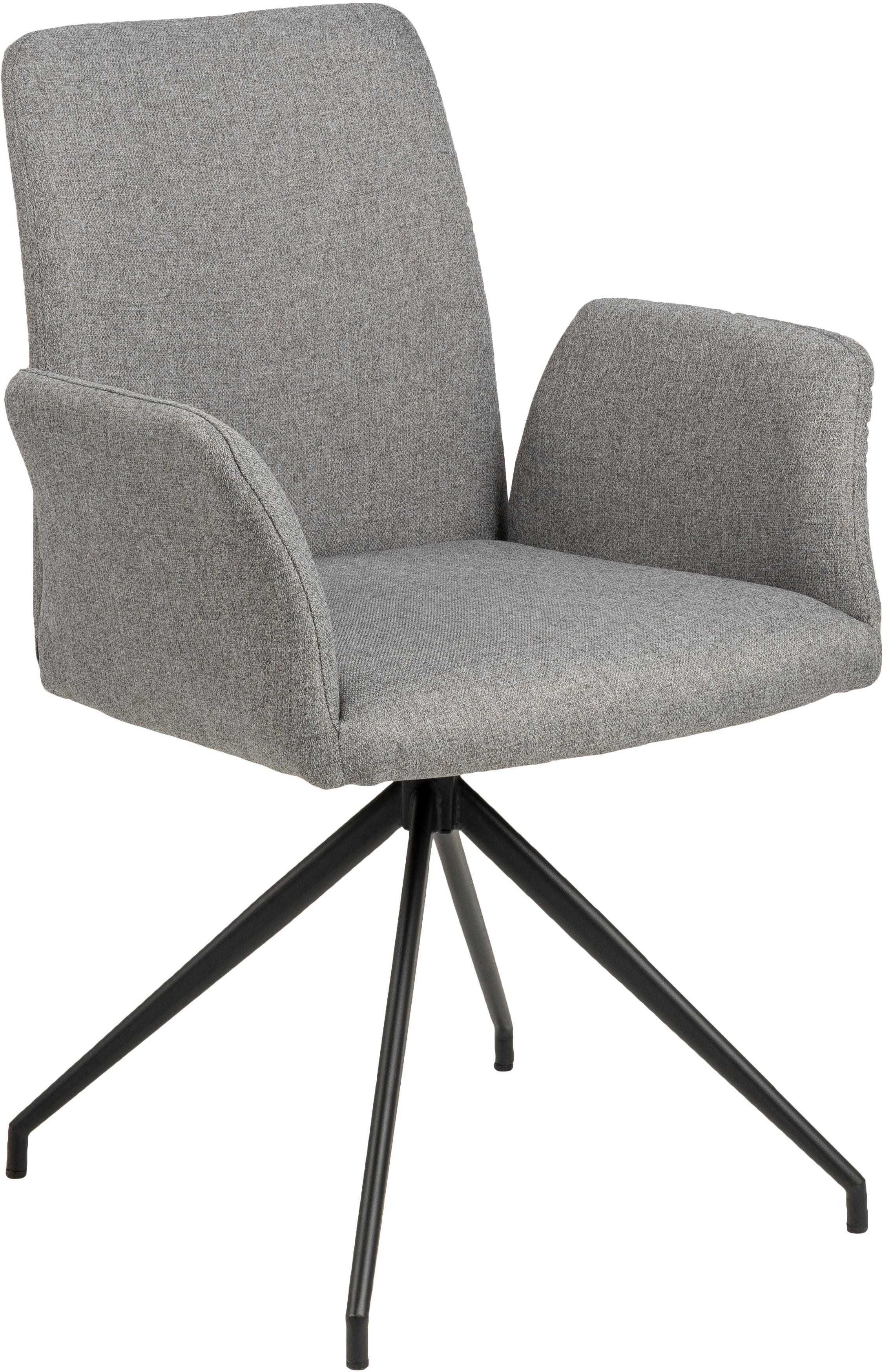 Draaistoel Naya in grijs, Bekleding: polyester De bekleding is, Frame: gepoedercoat metaal, Geweven stof lichtgrijs, B 59  x D 59 cm