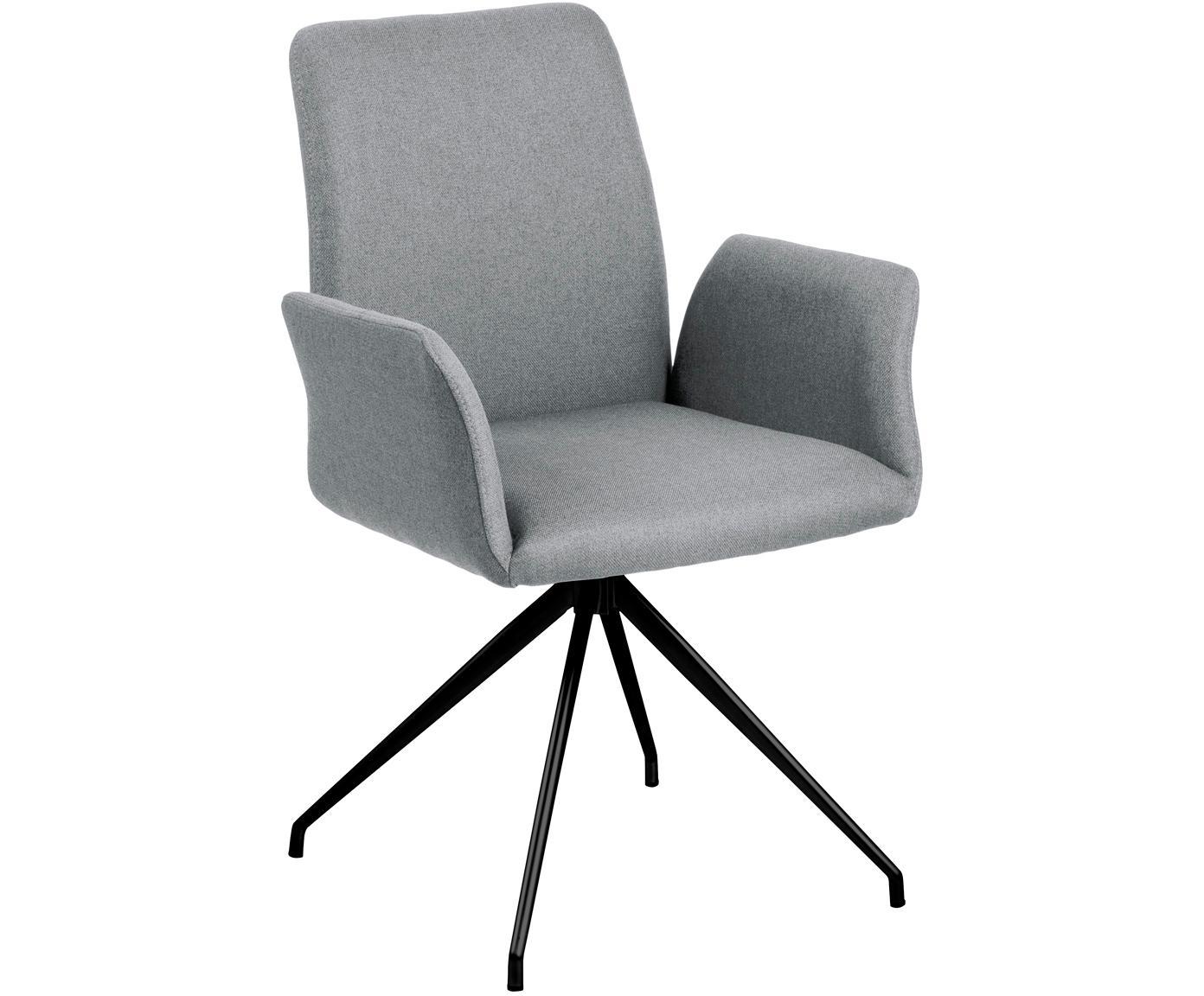 Drehstuhl Naya in Grau, Bezug: Polyester 25.000 Scheuert, Gestell: Metall, pulverbeschichtet, Webstoff Hellgrau, B 59 x T 59 cm