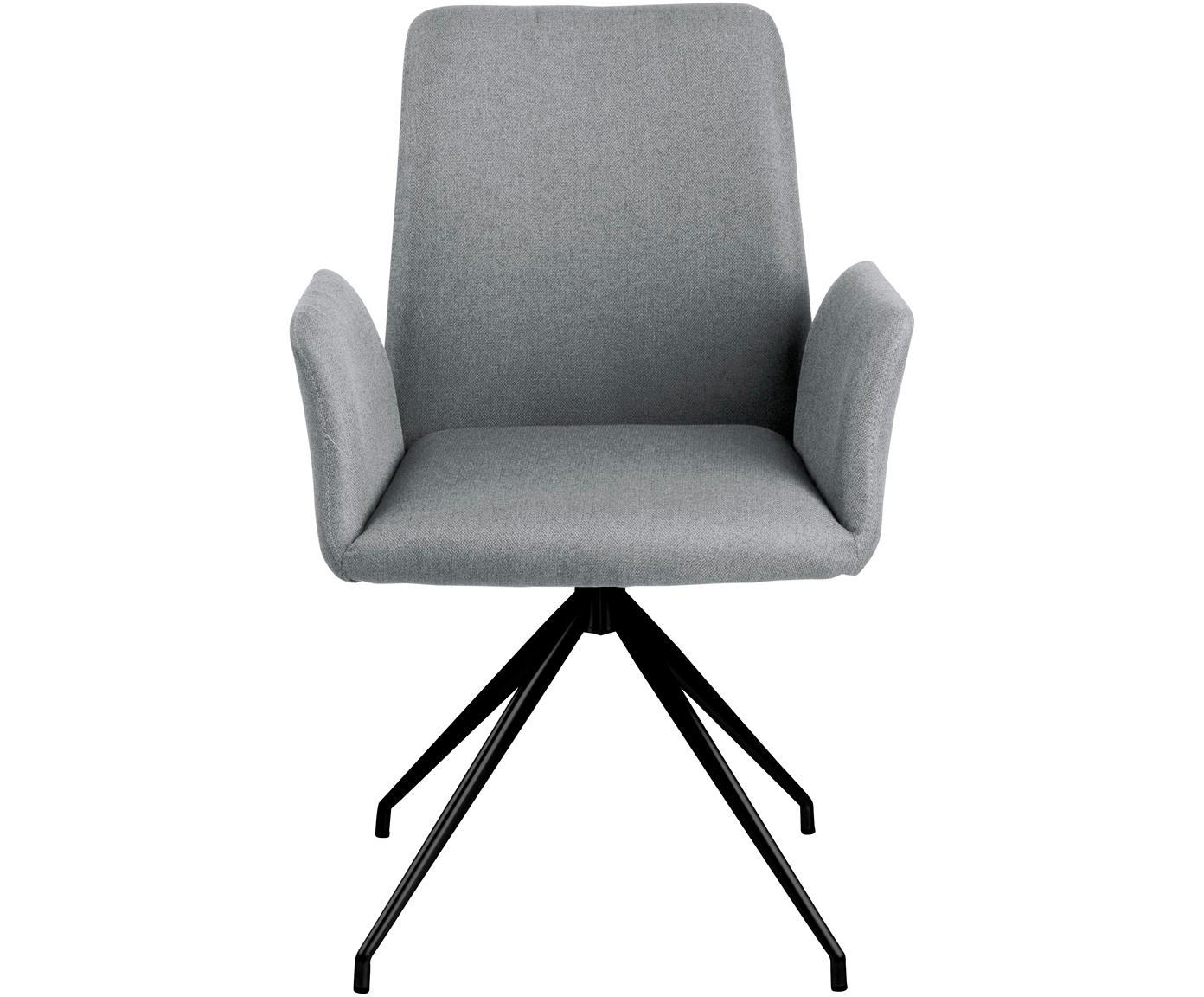 Sedia girevole in grigio Naya, Rivestimento: poliestere 25.000 cicli d, Struttura: metallo verniciato a polv, Grigio chiaro, Larg. 59 x Prof. 59 cm