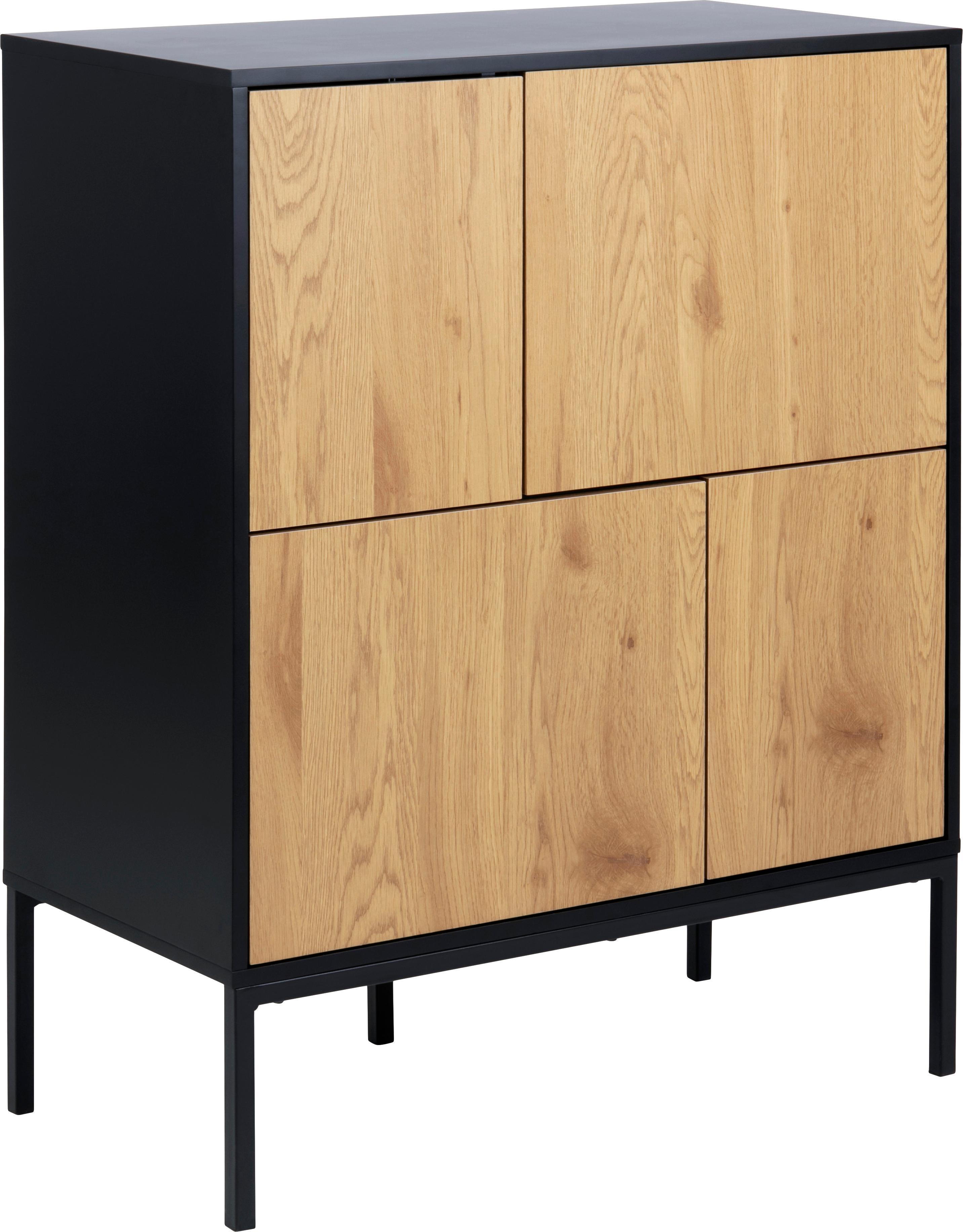 Ladekast Seaford in hout en metaal, Frame: gelakt MDF, Poten: gepoedercoat metaal, Zwart, wild eikenhoutkleurig, 80 x 103 cm