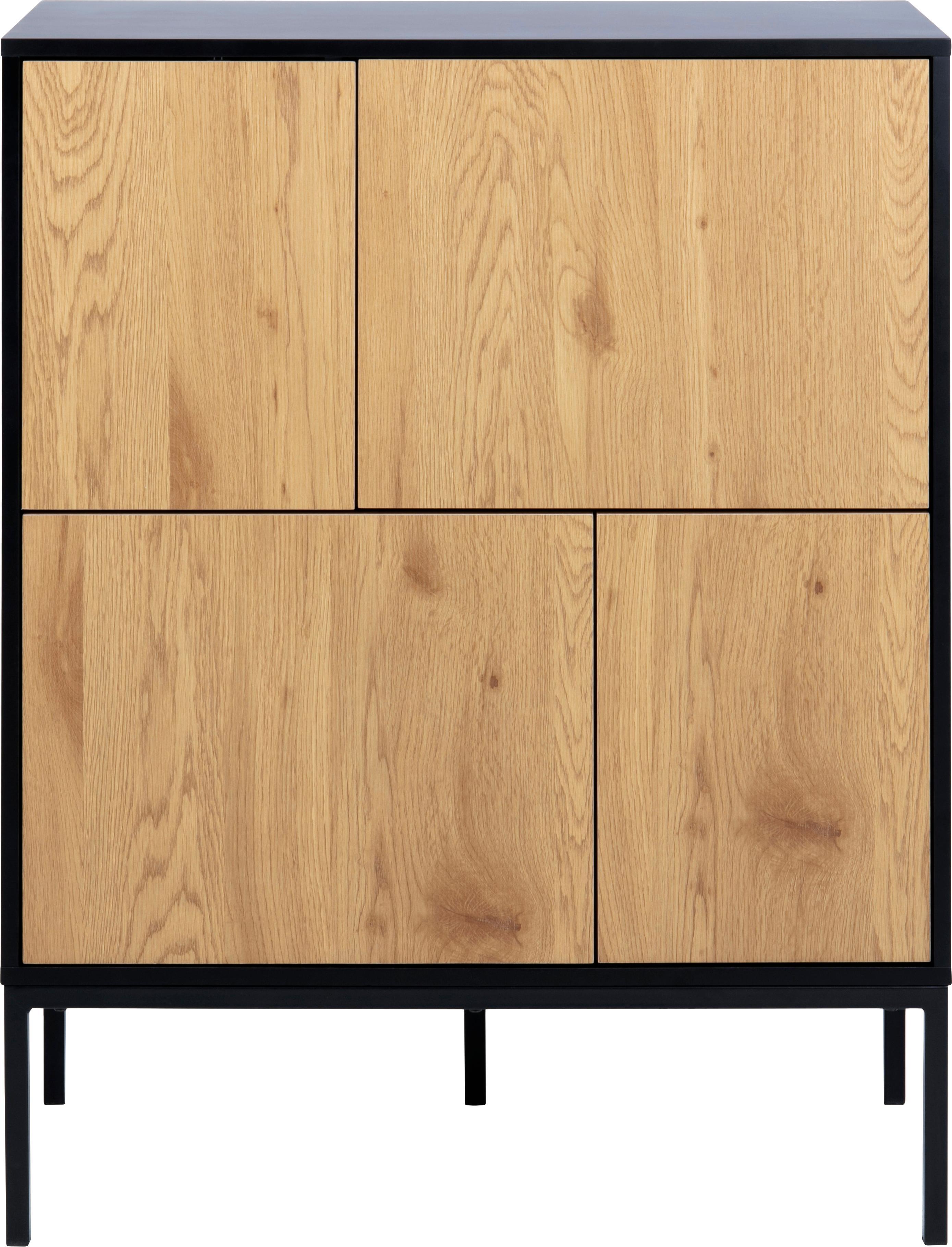 Skříňka z dřeva a kovu Seaford, Černá, divoký dub
