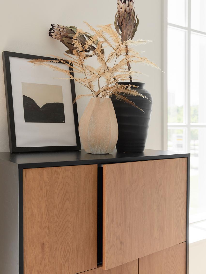 Kommode Seaford aus Holz und Metall, Korpus: Mitteldichte Holzfaserpla, Füße: Metall, pulverbeschichtet, Schwarz, Wildeichenholz, 80 x 103 cm