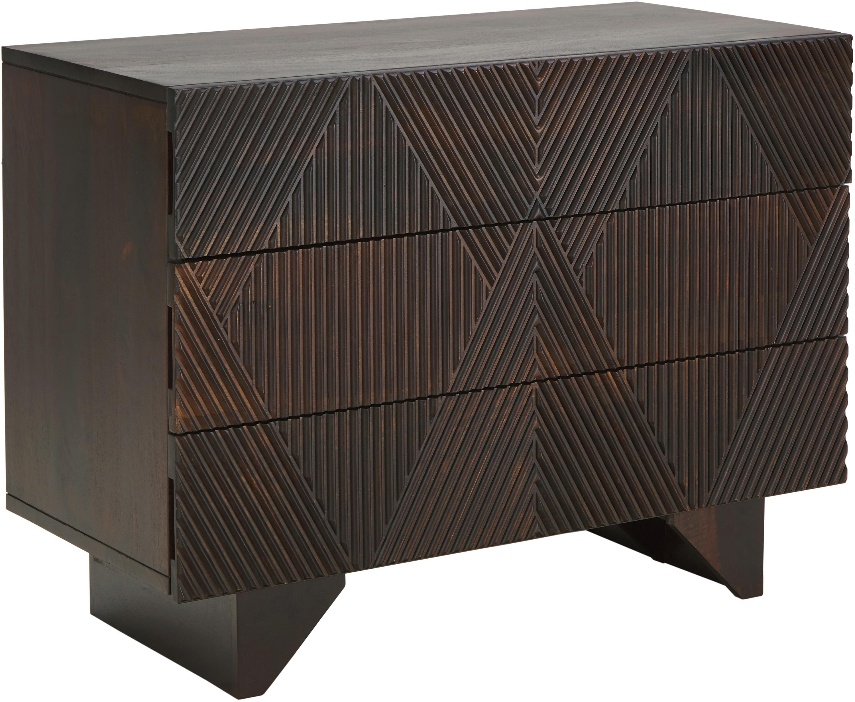 Cómoda de madera maciza Louis, Madera de mango maciza pintada, Marrón oscuro, An 100 x Al 75 cm
