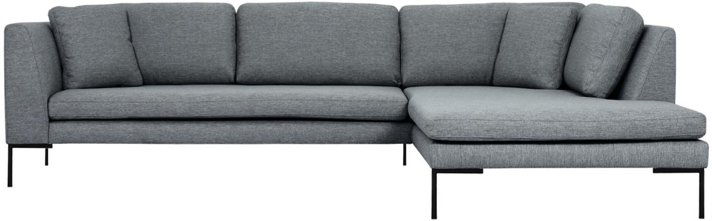 Hoekbank Emma, Bekleding: polyester, Frame: massief grenenhout, Poten: gepoedercoat metaal, Geweven stof grijs, poten zwart, B 302 x D 220 cm