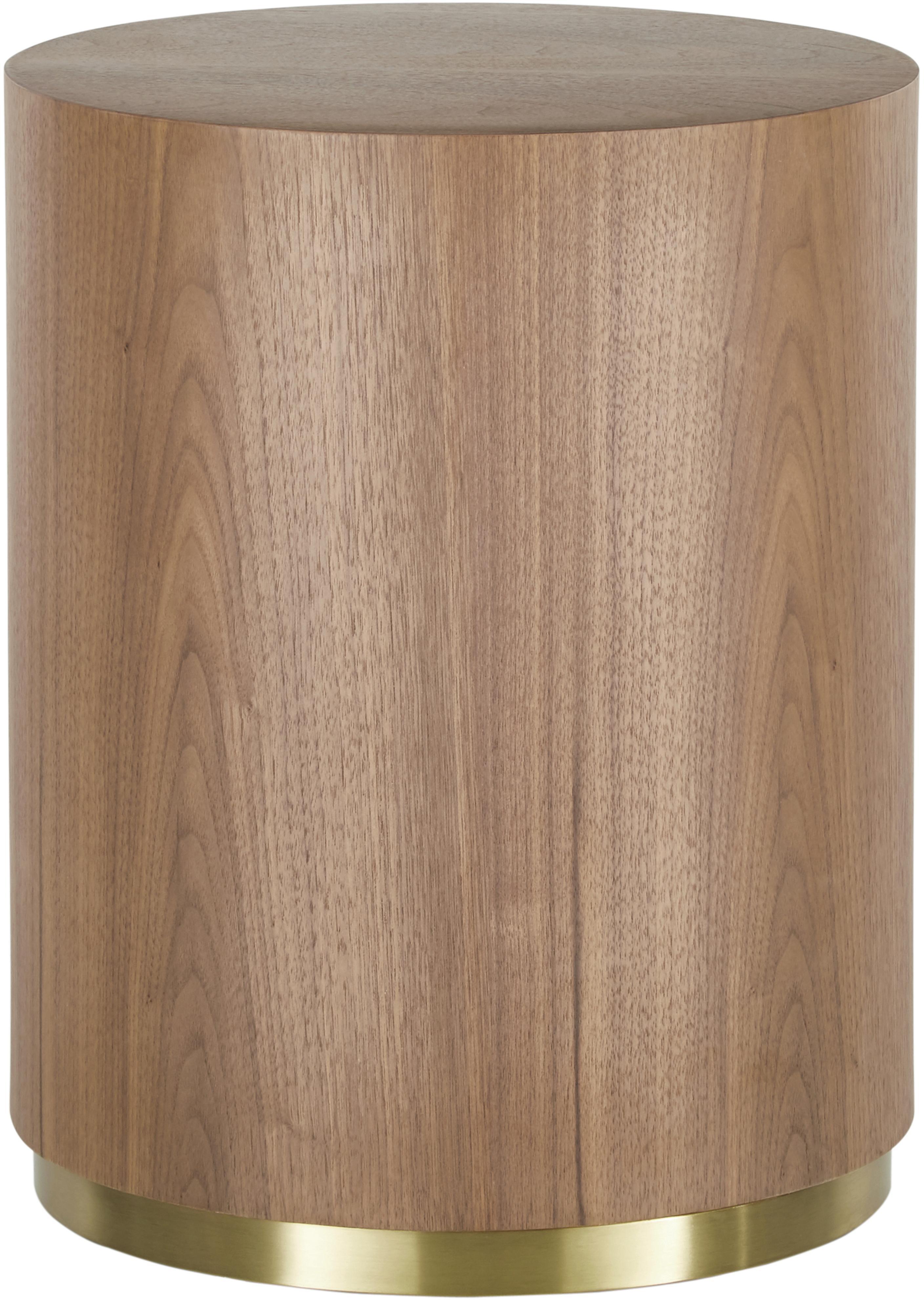 Bijzettafel Clarice in walnootkleur, Frame: MDF met walnoothoutfineer, Voet: gecoat metaal, Frame: walnoothoutkleurig. Voet: goudkleurig, glanzend geborsteld, Ø 40 x H 50 cm