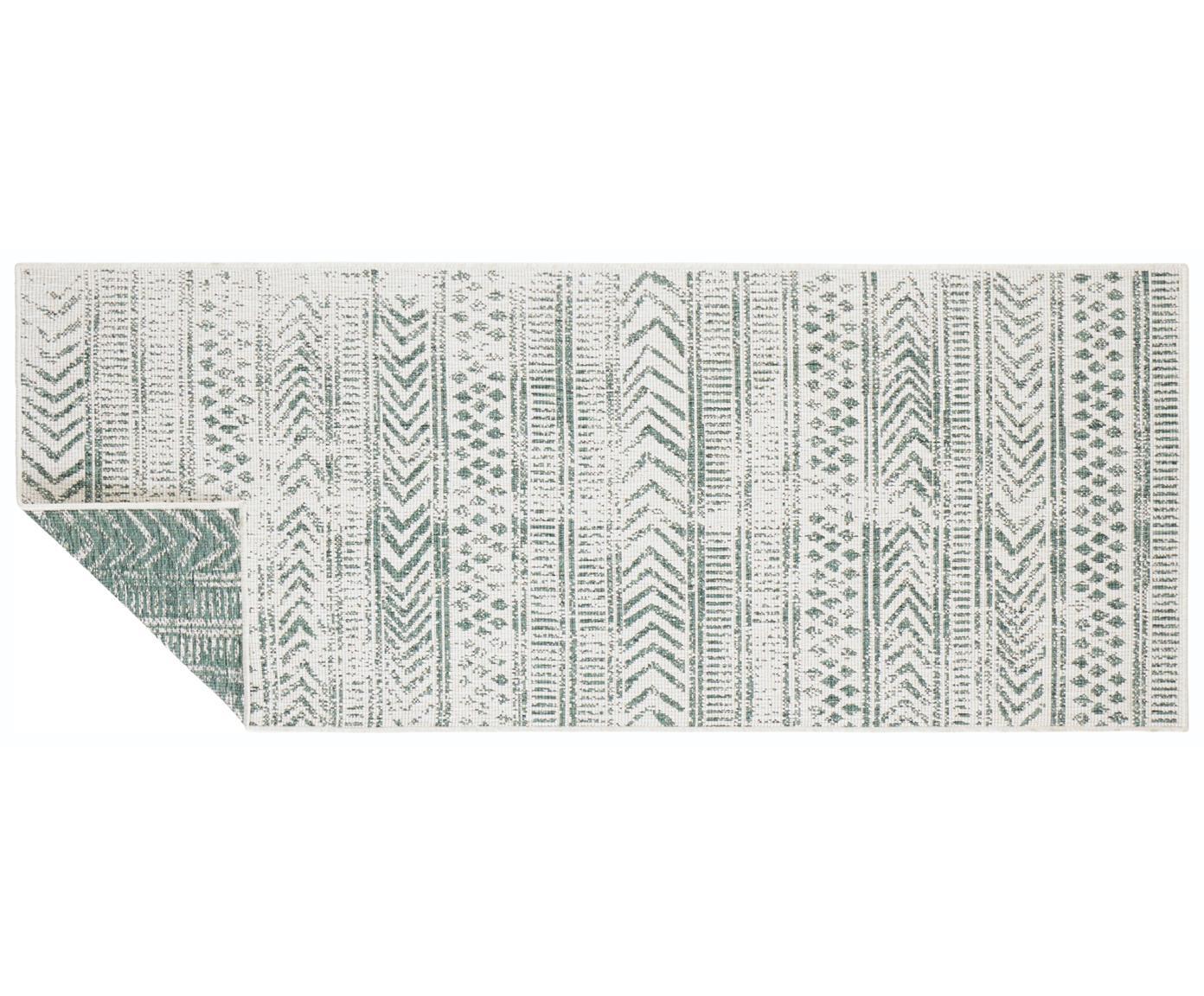 Dubbelzijdige in- en outdoor loper Biri met grafisch patroon, Polypropyleen, Groen, crèmekleurig, 80 x 250 cm