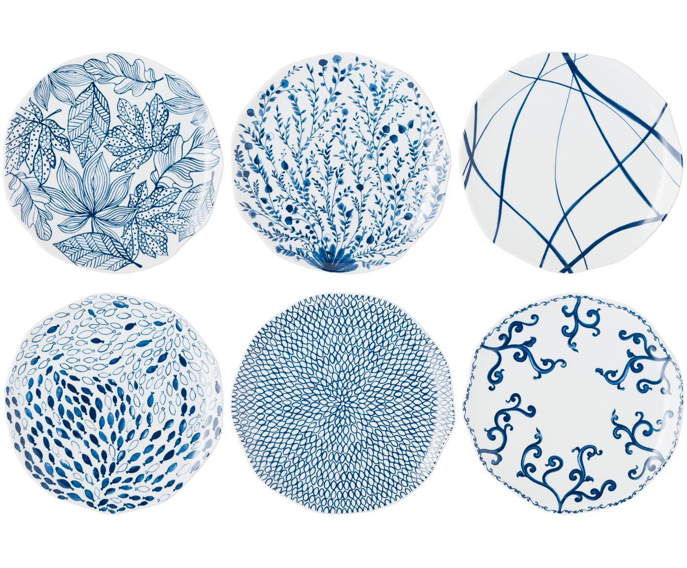 Set de platos llanos Vassoio, 6pzas., Porcelana, Azul, blanco, Ø 27 cm
