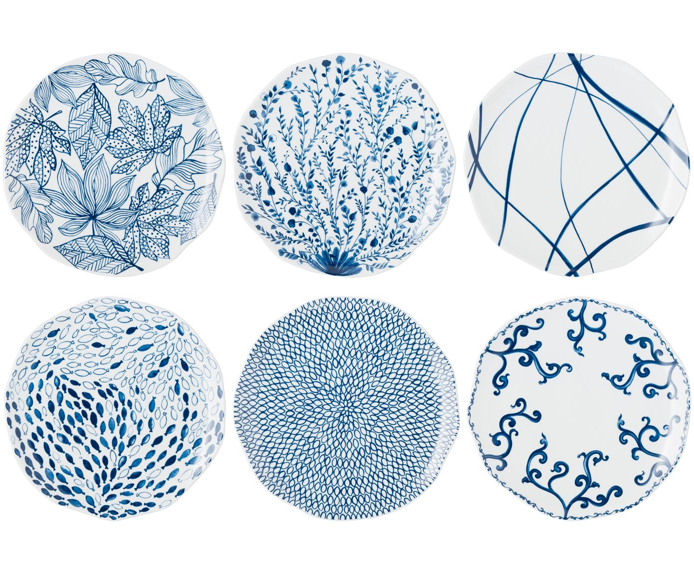 Speiseteller Vassoio, 6er-Set, Porzellan, Blau, Weiß, Ø 27 cm