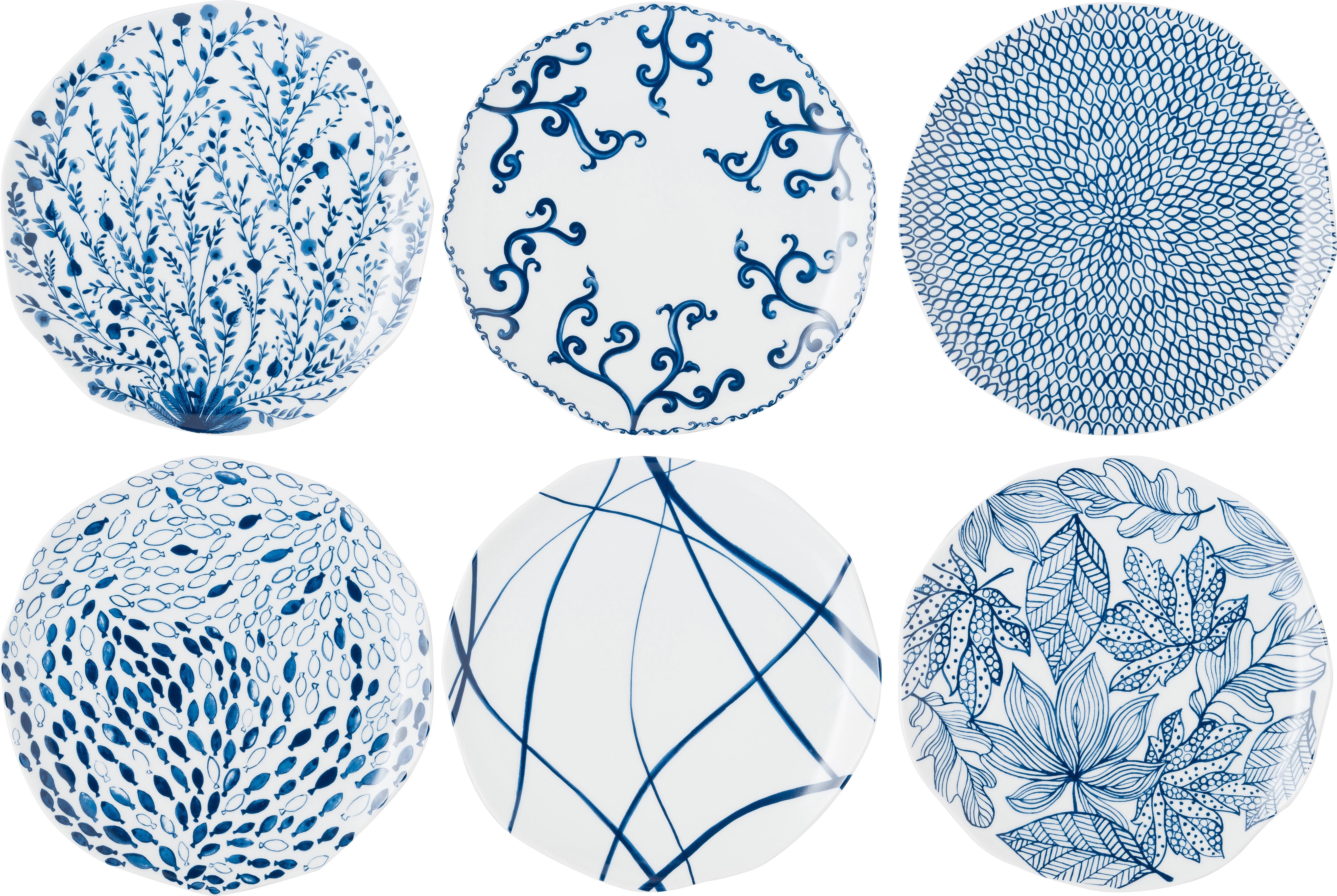 Gemusterte Speiseteller Vassoio in Weiss/Blau, 6er-Set, Porzellan, Blau, Weiss, Ø 27 cm