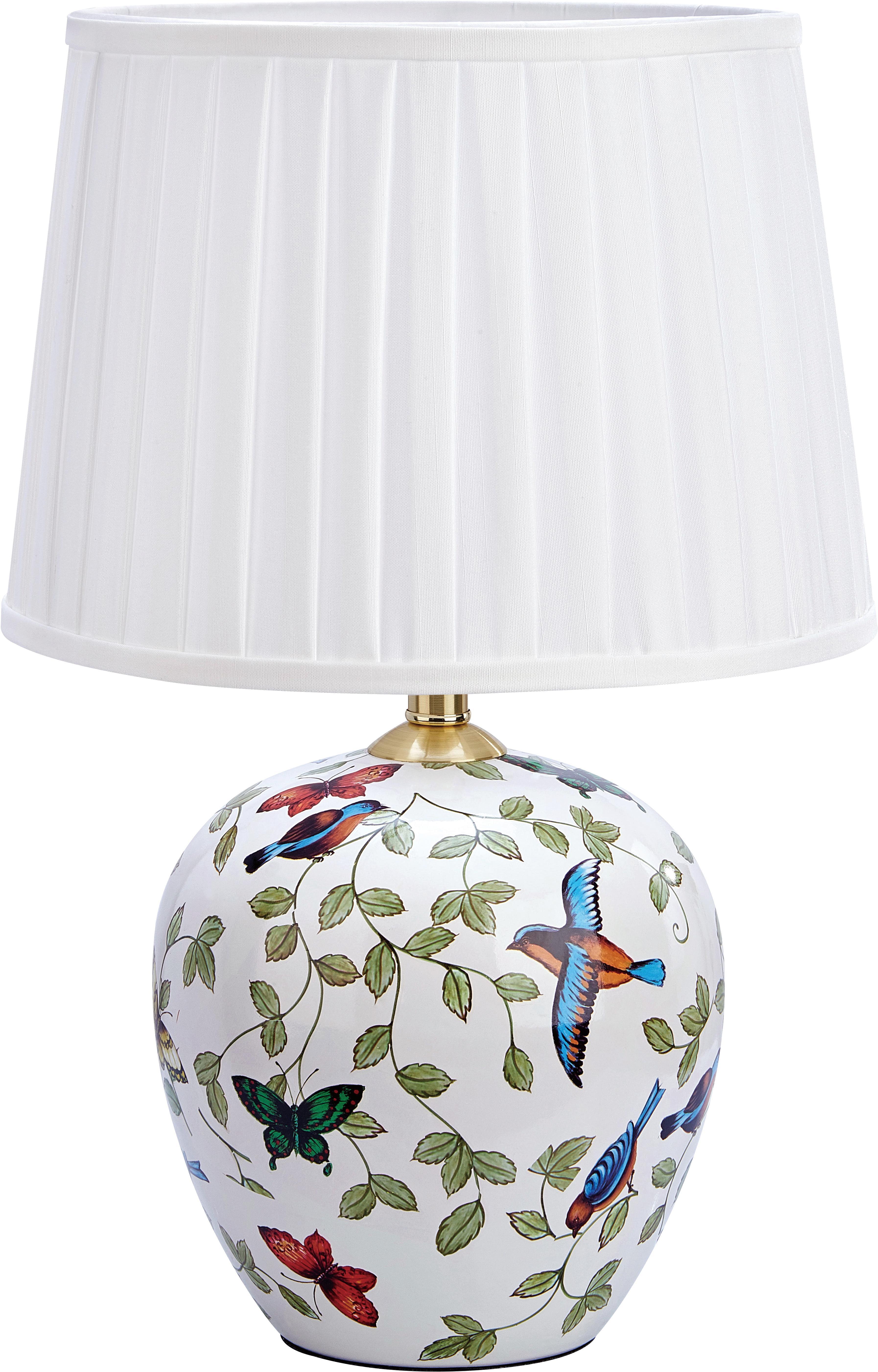 Keramik-Tischleuchte Mansion, Lampenschirm: Textil, Lampenfuß: Keramik, Weiß, Mehrfarbig, Ø 31 x H 45 cm