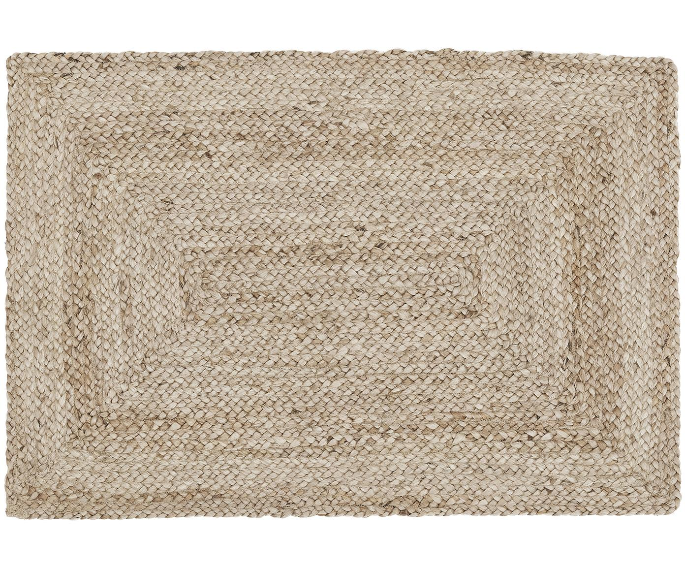 Alfombra artesanal de yute Sharmila, Beige, An 60 x L 90 cm (Tamaño XXS)