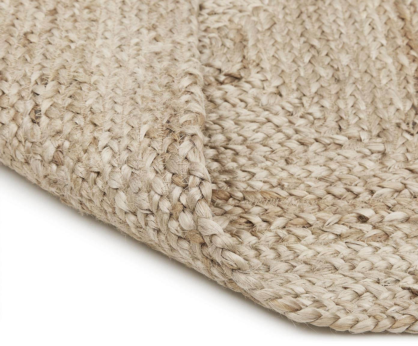 Handgemaakt juten vloerkleed Sharmila, Bovenzijde: jute, Onderzijde: jute, Beige, 60 x 90 cm