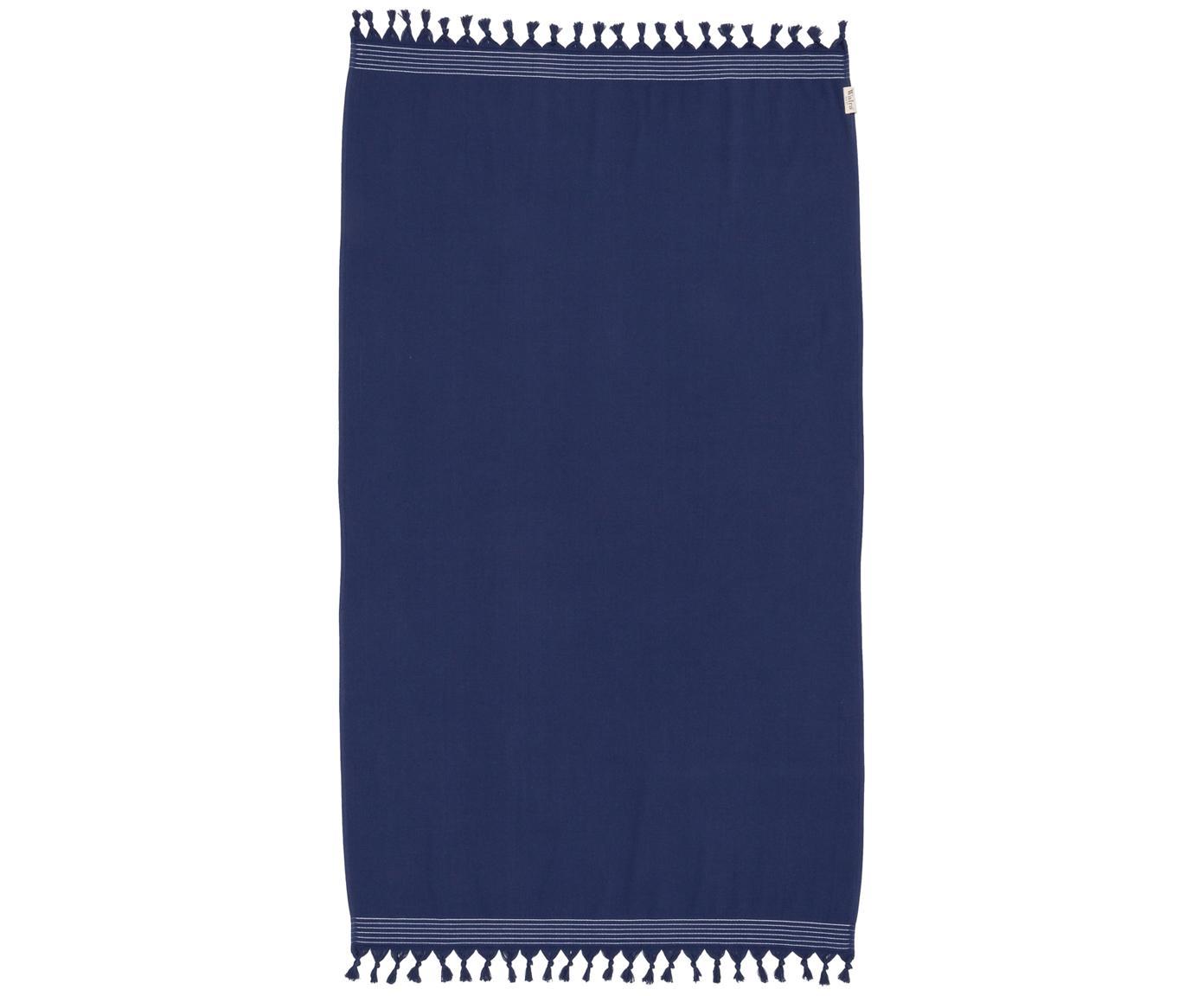 Fouta Soft Cotton, Reverso: afelpado, Azul oscuro, blanco, An 100 x L 180 cm
