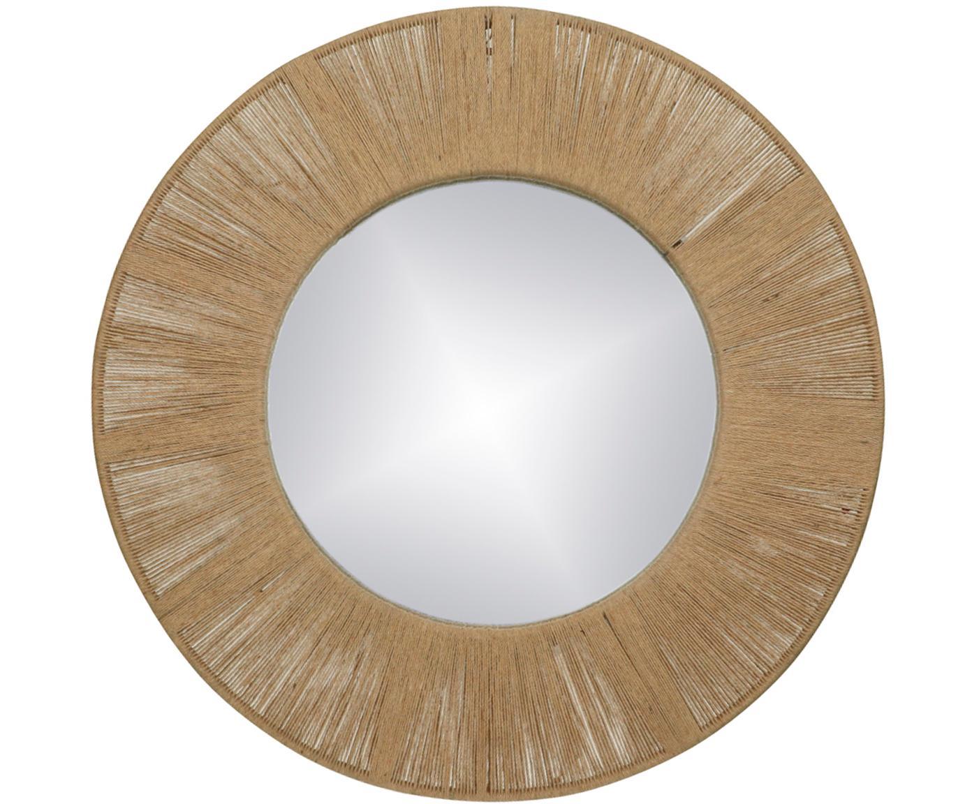 Runder Wandspiegel Finesse mit Rahmen aus Naturfasern, Rahmen: Metall, Naturfaser, Spiegelfläche: Spiegelglas, Braun, Ø 50 cm