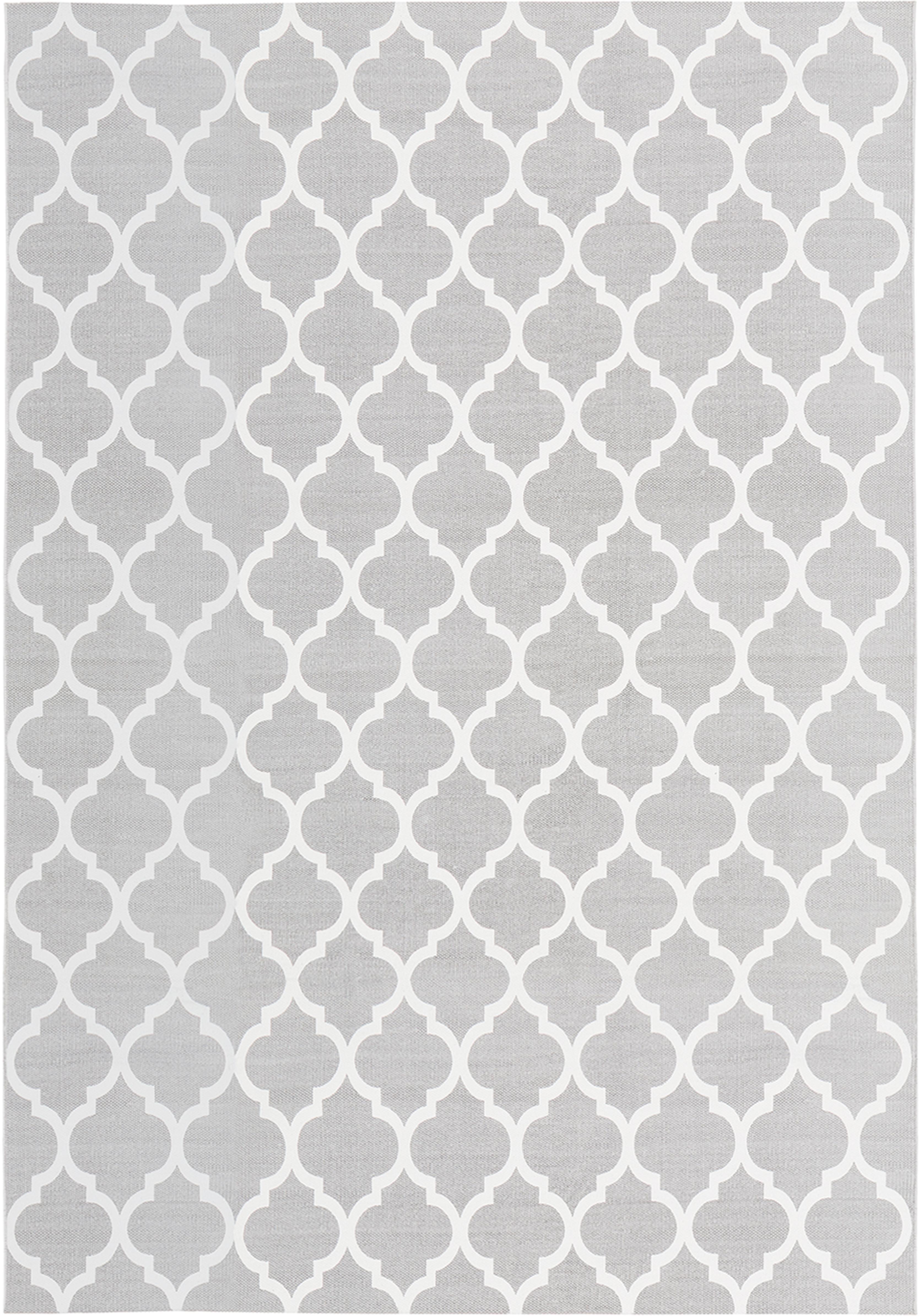 Flachgewebter Baumwollteppich Amira in Grau/Weiss, 100% Baumwolle, Hellgrau, Cremeweiss, B 160 x L 230 cm (Grösse M)