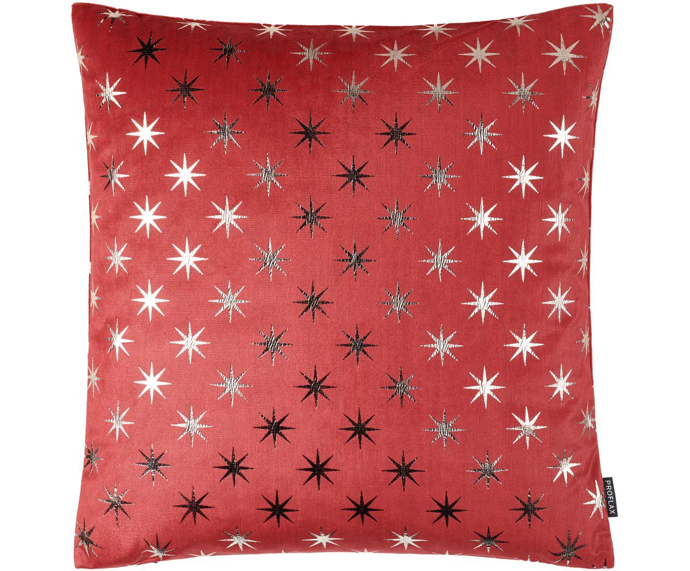 Kussenhoes Cosmos met zilveren sterren, Polyester, Rood, zilverkleurig, 40 x 40 cm