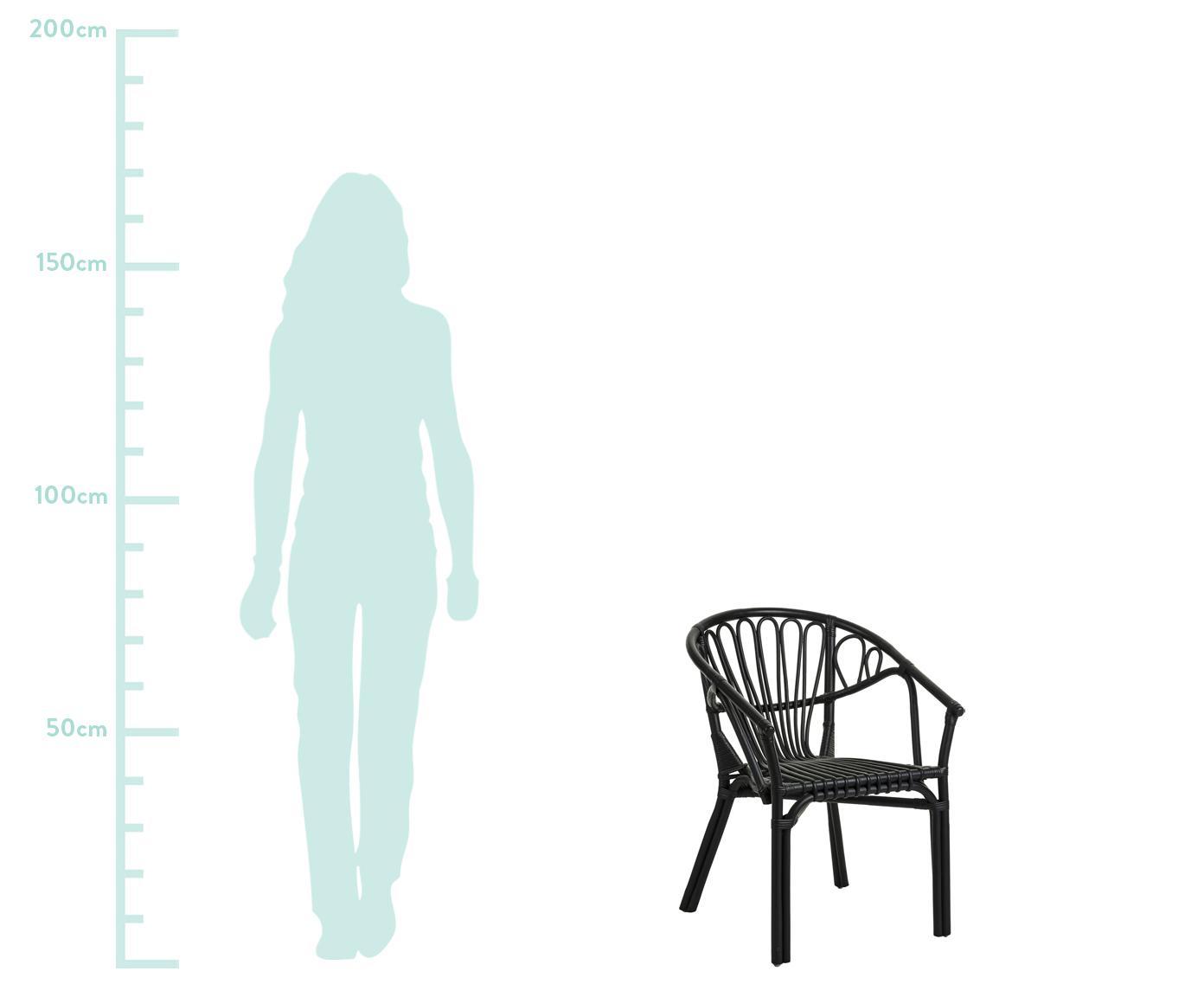Krzesło z rattanu z podłokietnikami Ganga, Rattan lakierowany z powłoką odporną na warunki atmosferyczne, Czarny, S 56 x G 60 cm