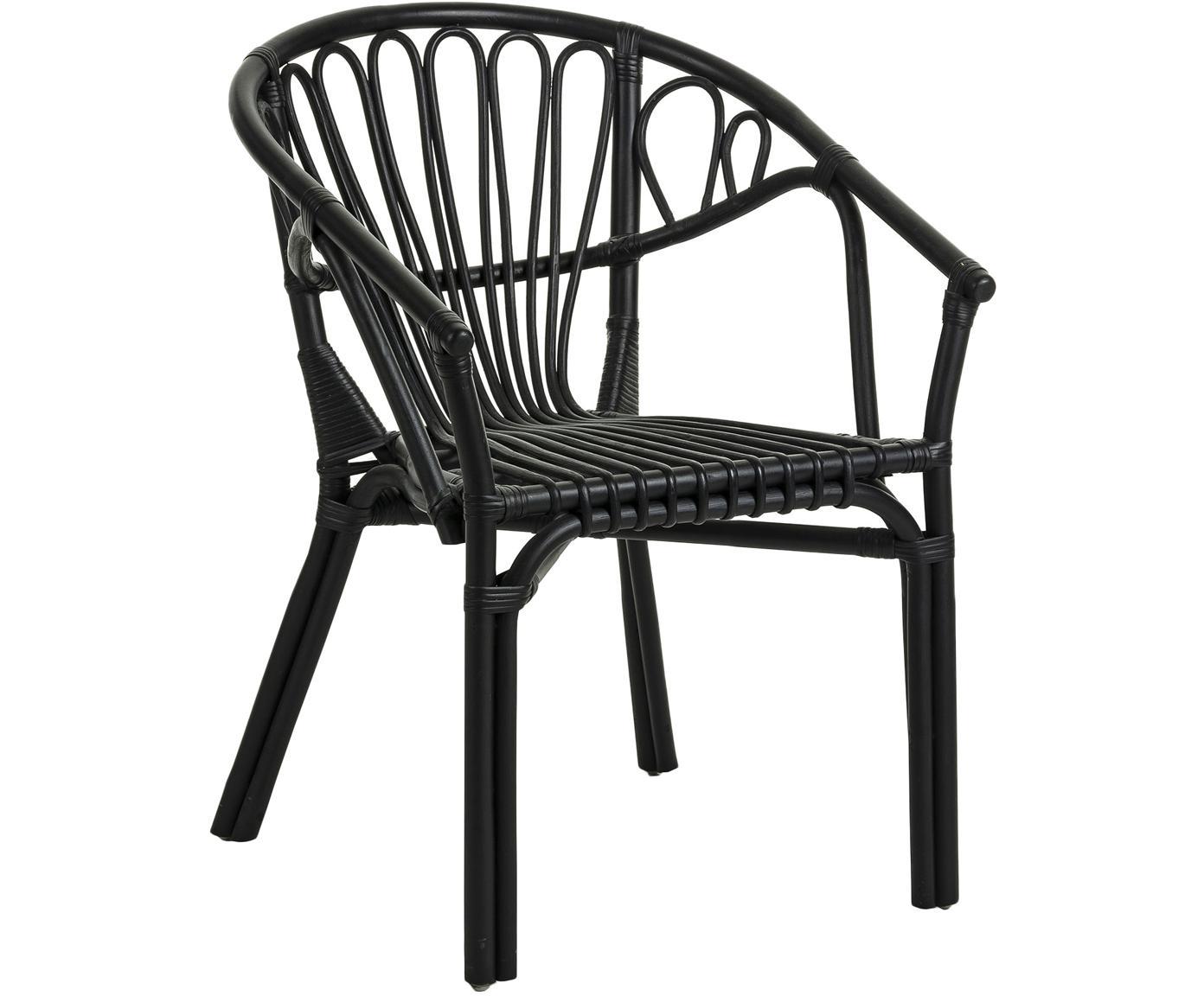 Sedia con braccioli in rattan Ganga, Rattan, laccato con rivestimento resistente alle intemperie, Nero, Larg. 56 x Prof. 60 cm