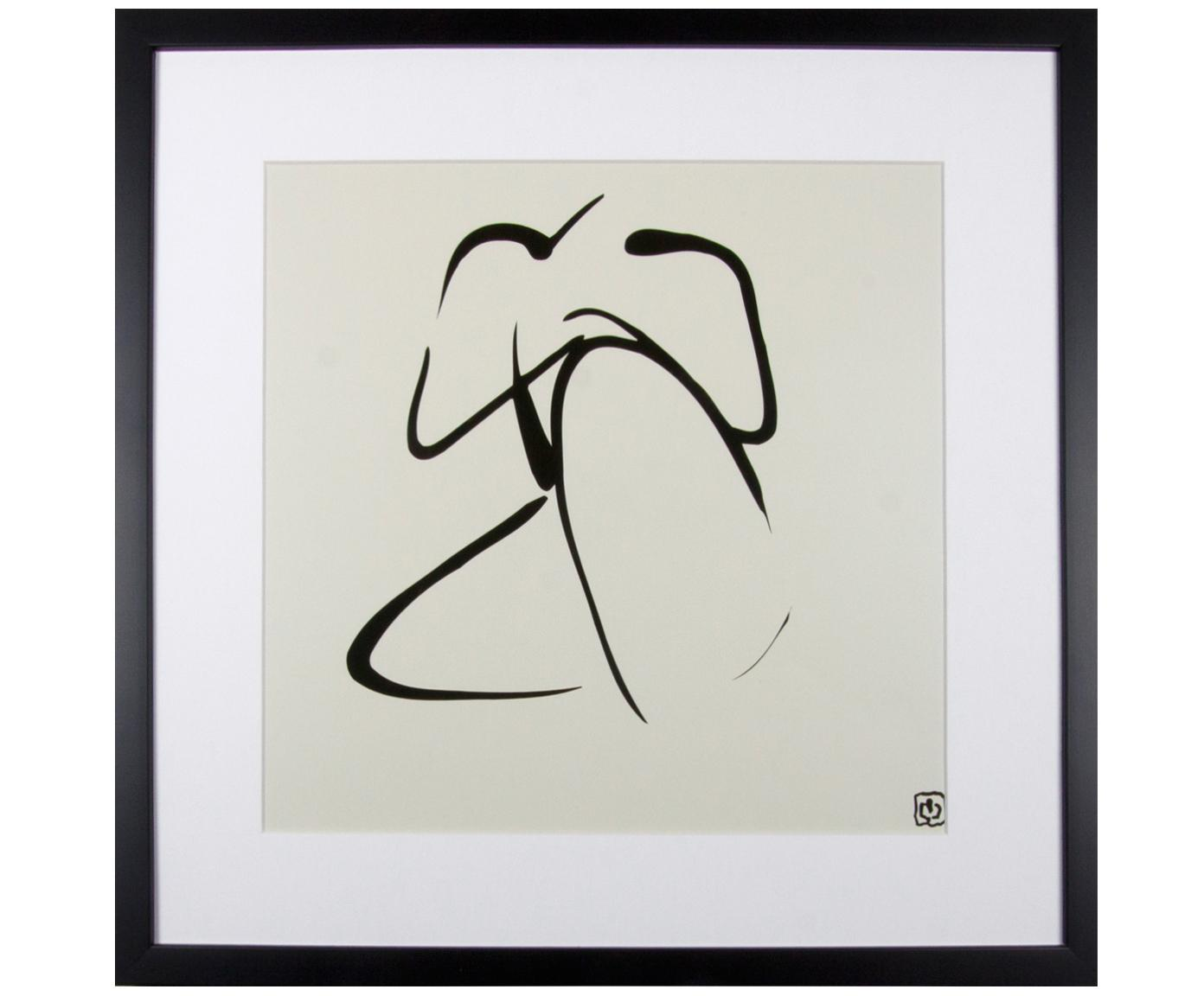 Impresión digital enmarcada Akt Lady III, Ilustración: negro, beige Marco: negro, An 40 x Al 40 cm