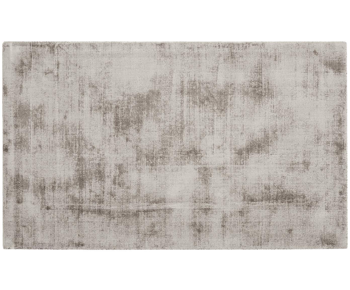 Handgeweven viscose vloerkleed Jane, Bovenzijde: 100% viscose, Onderzijde: 100% katoen, Taupe, 90 x 150 cm