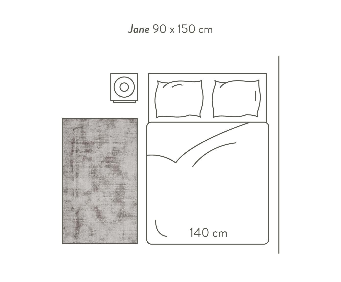 Handgeweven viscose vloerkleed Jane, Bovenzijde: 100% viscose, Onderzijde: 100% katoen, Taupe, 120 x 180 cm