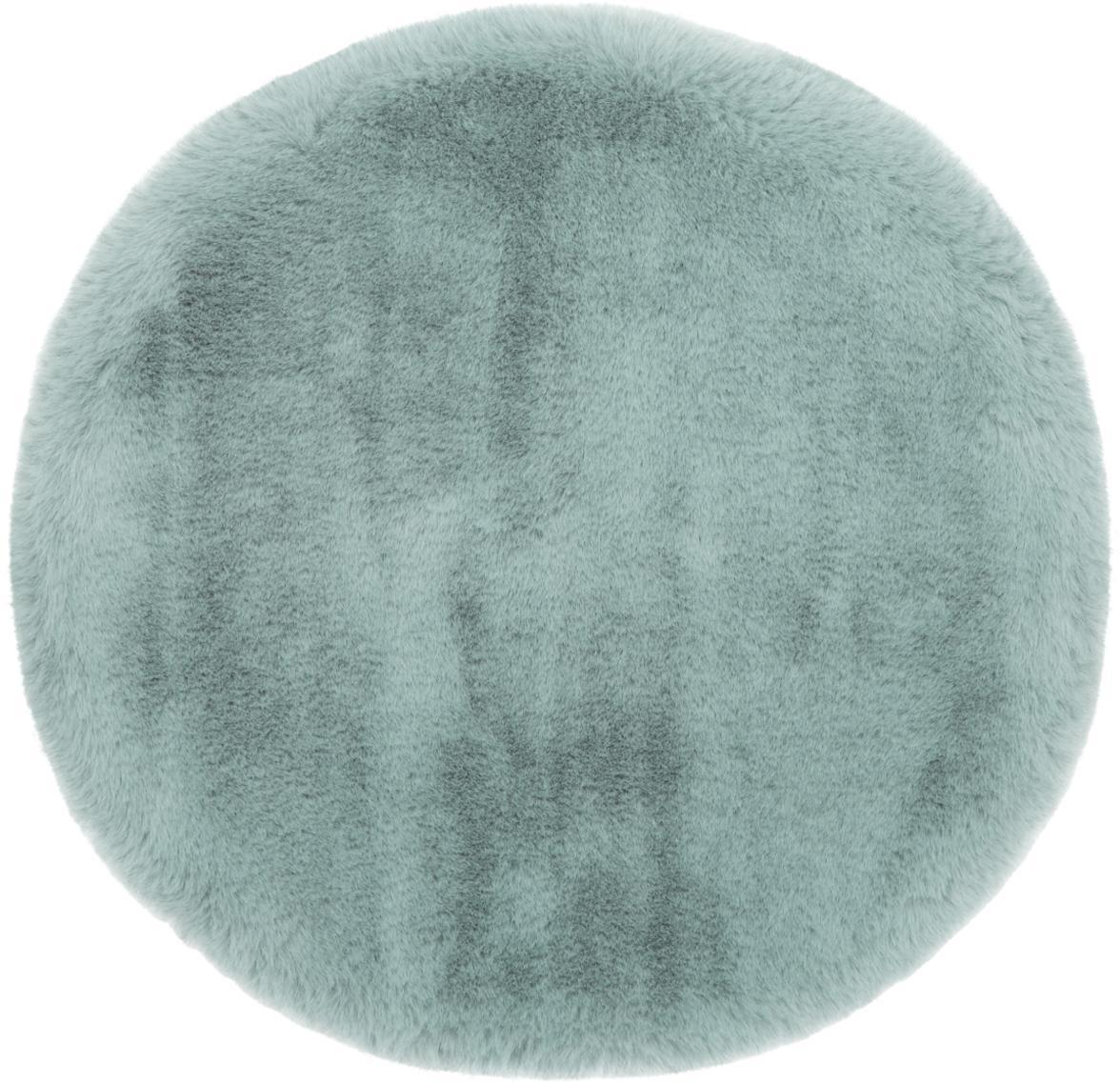 Rond zitkussen van imitatievacht Mette, glad, Groen, Ø 37 cm