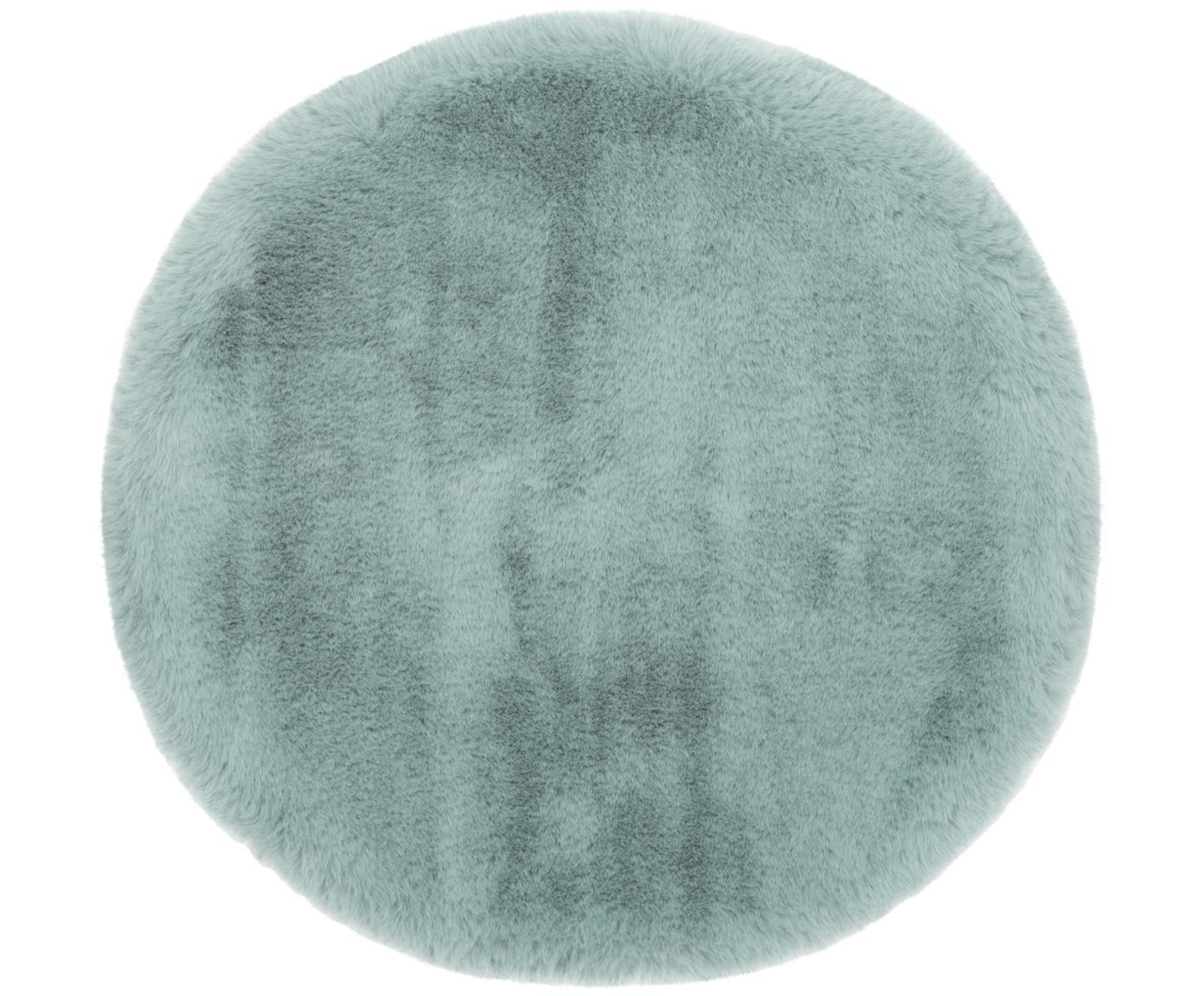 Runde Kunstfell-Sitzauflage Mette, glatt, Vorderseite: 100% Polyester, Rückseite: 100% Polyester, Grün, Ø 37 cm