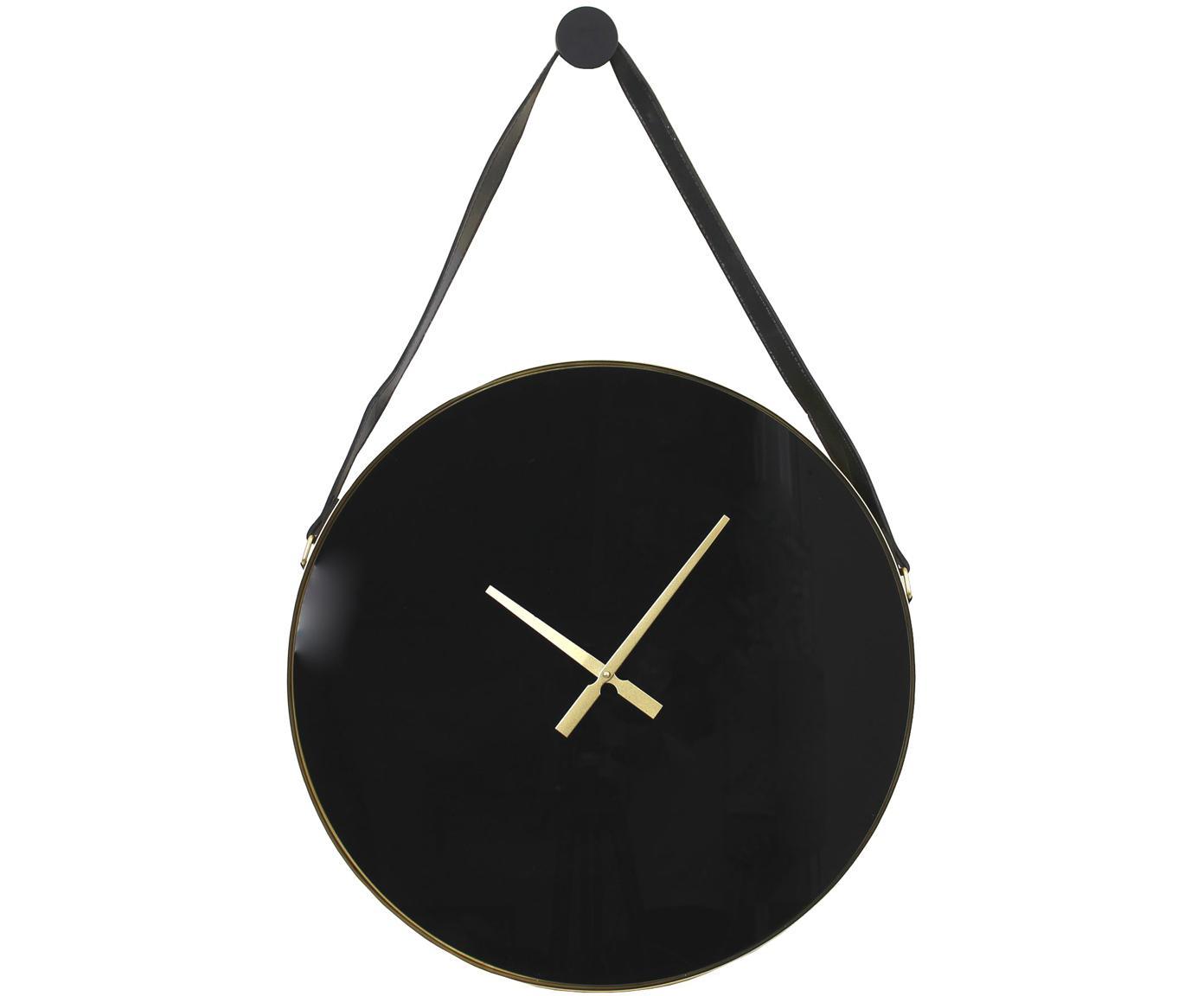 Orologio da parete Liva, Metallo rivestito, Nero, dorato, Larg. 60 x Alt. 94 cm