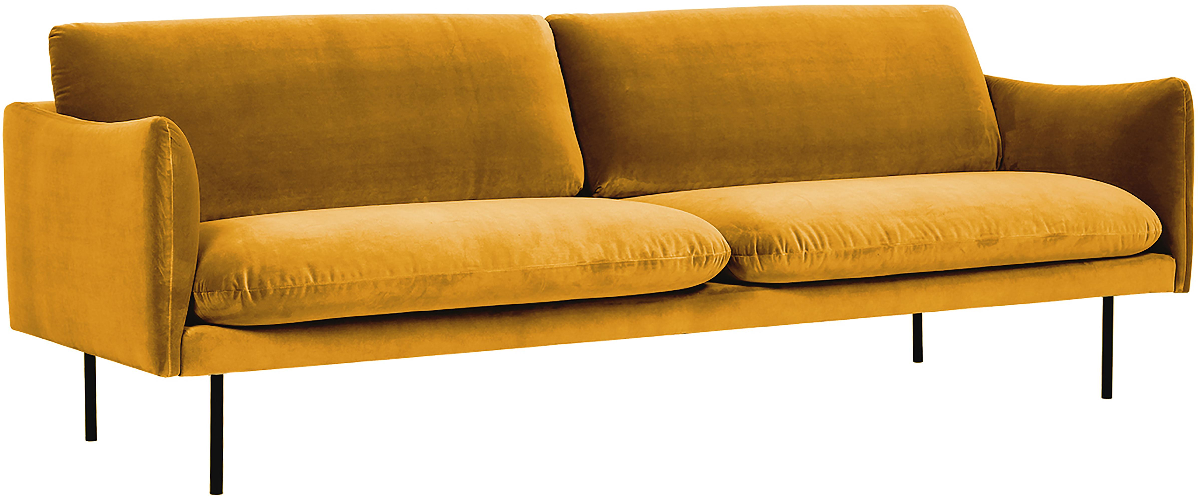 Samt-Sofa Moby (3-Sitzer), Bezug: Samt (Hochwertiger Polyes, Gestell: Massives Kiefernholz, Füße: Metall, pulverbeschichtet, Samt Senfgelb, B 220 x T 95 cm