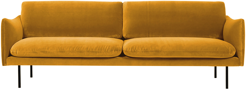 Divano 3 posti in velluto giallo senape Moby, Rivestimento: velluto (rivestimento in , Struttura: legno di pino massiccio, Piedini: metallo verniciato a polv, Giallo senape, Larg. 220 x Prof. 95 cm