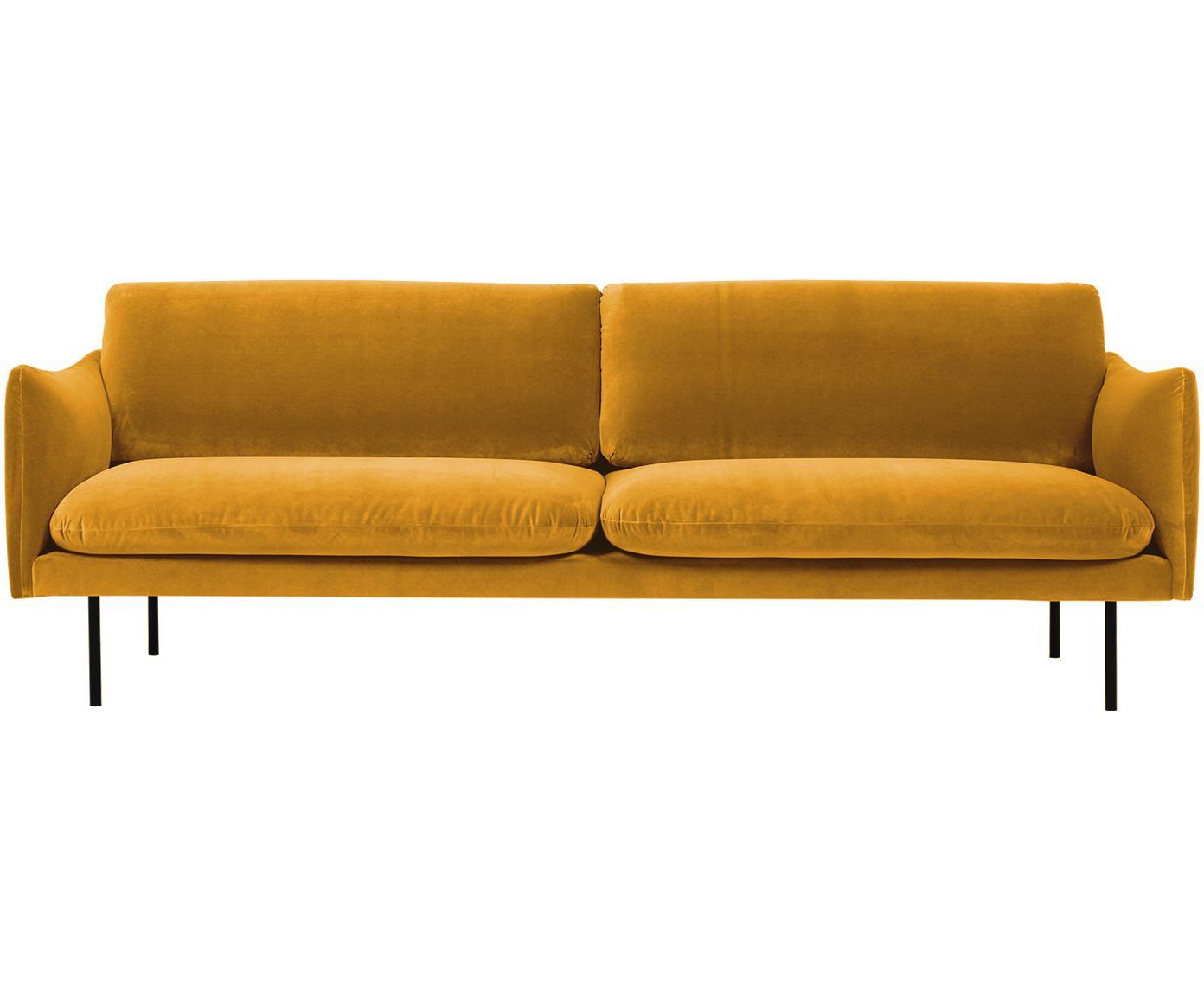 Samt-Sofa Moby (3-Sitzer), Bezug: Samt (Hochwertiger Polyes, Gestell: Massives Kiefernholz, Samt Senfgelb, B 220 x T 95 cm
