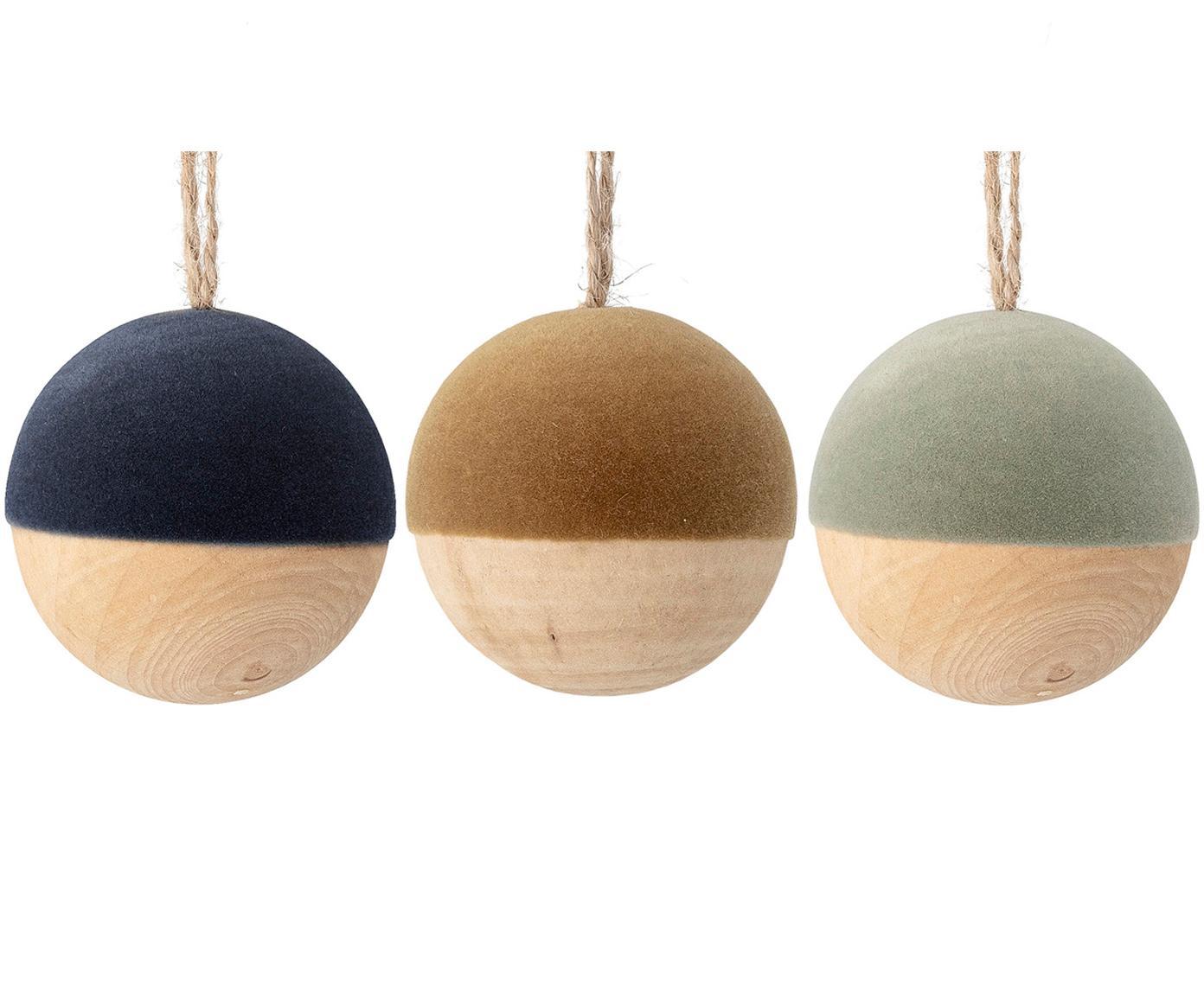 Fluwelen kerstballenset Thace, 3-delig, Hout, polyester fluweel, Donkerblauw, mosterdgeel, mintgroen, houtkleurig, Ø 5 cm