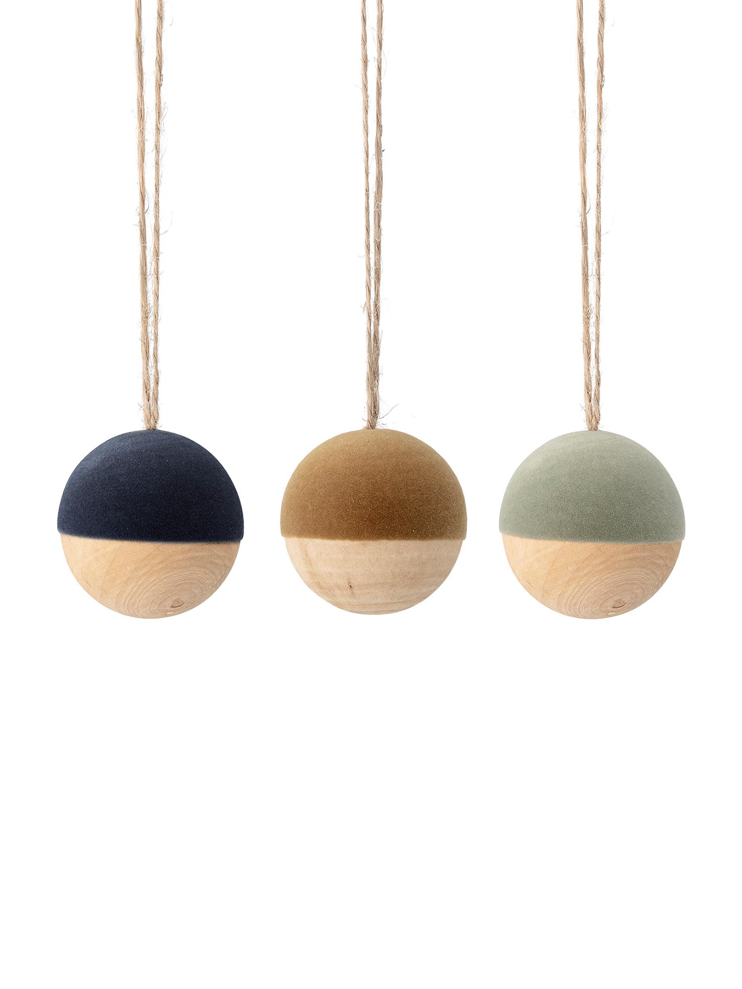 Set de bolas de Navidad de terciopelo Thace, 3pzas., Madera, terciopelo de poliéster, Azul oscuro, mostaza, verde menta, madera, Ø 5 cm