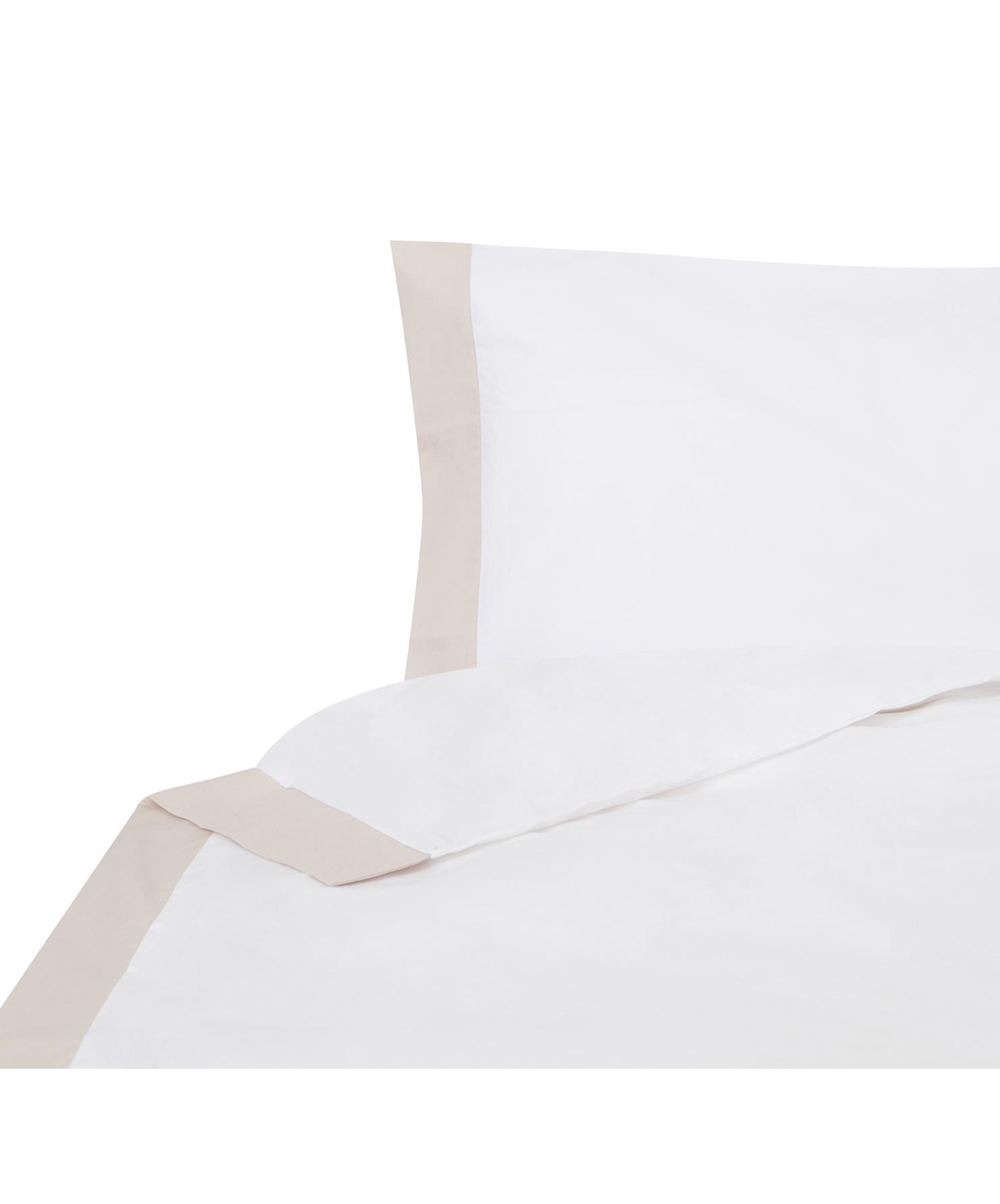 Funda nórdica Camalisa, Algodón, Blanco, crema, Cama 90 cm (160 x 220 cm)