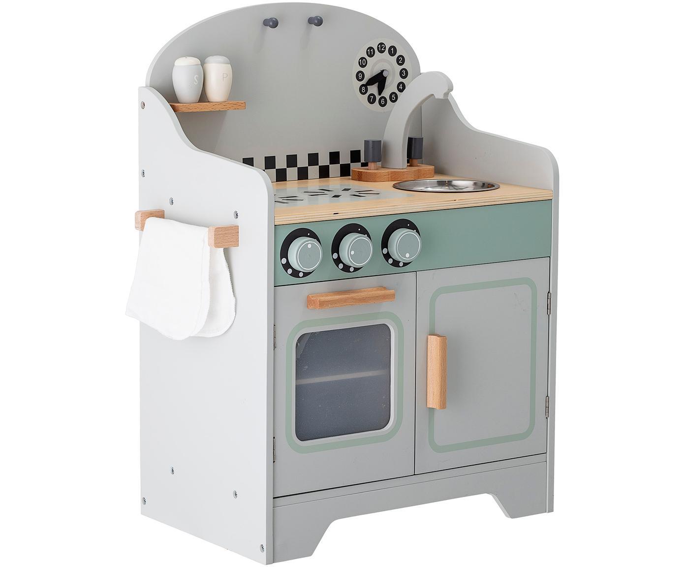 Cocina de juguete Minicook, Tablero de fibras de densidad media (MDF), madera de loto, recubierto, Gris, multicolor, An 43 x Al 58 cm